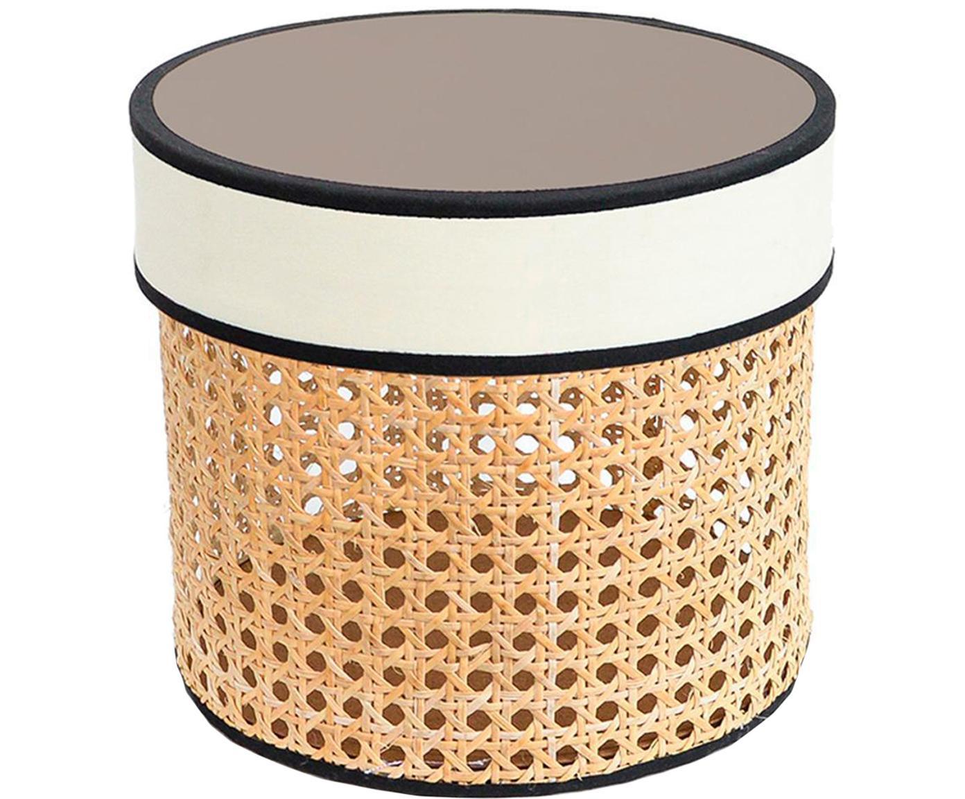 Caja decorativa Pamela, Caja: rejilla, Tapa: tela, fibras de densidad , Beige, blanco, Ø 21 x Al 19 cm