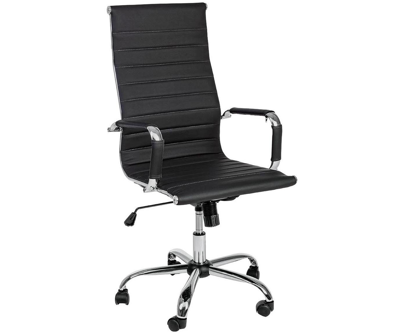 Biurowe krzesło obrotowe ze sztucznej skóry Praga, Stelaż: metal chromowany, Tapicerka: sztuczna skóra (poliureta, Czarny, S 59 x W 110 cm