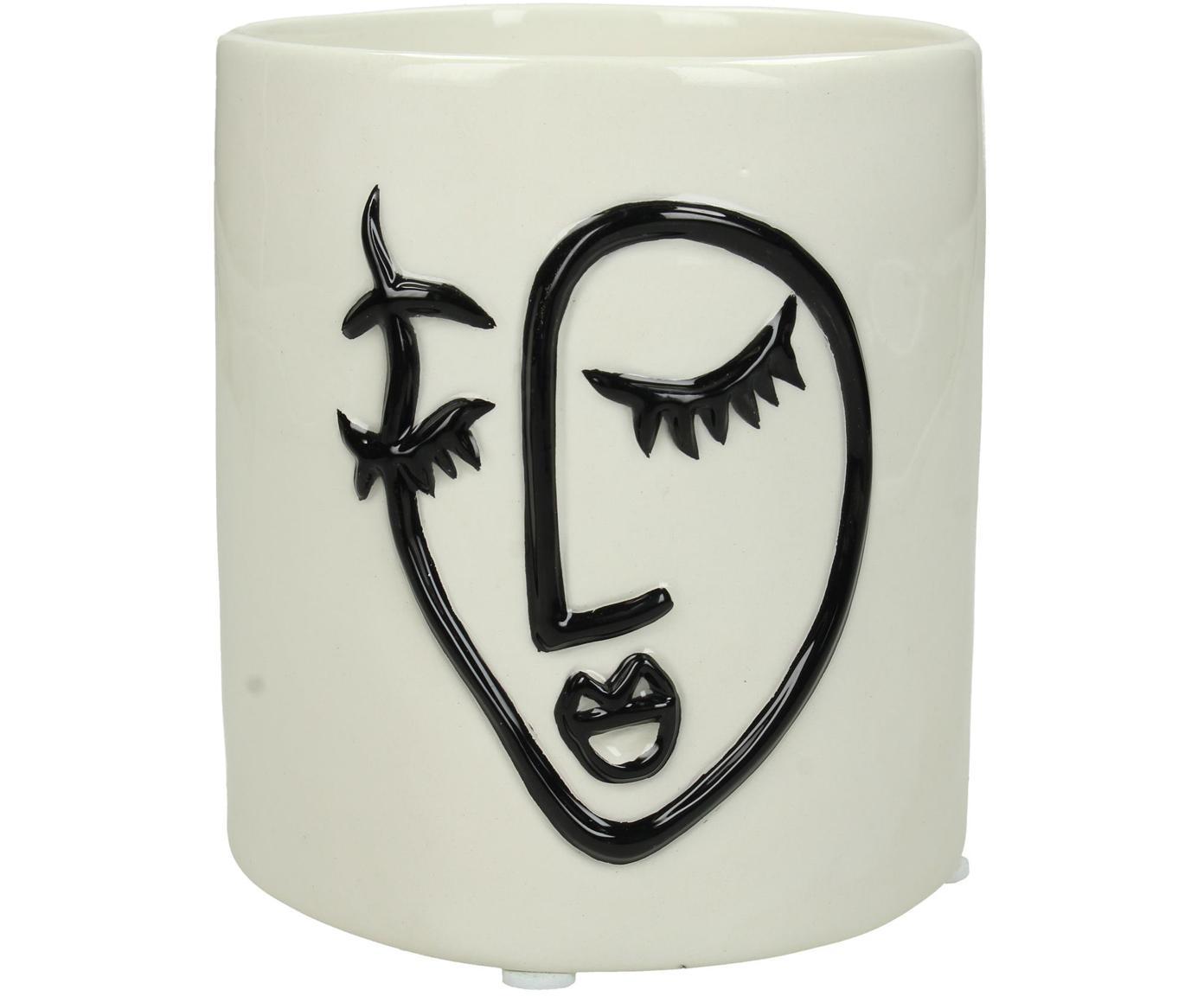Osłonka na doniczkę Face, Dolomit, Złamana biel, czarny, Ø 12 x W 13 cm