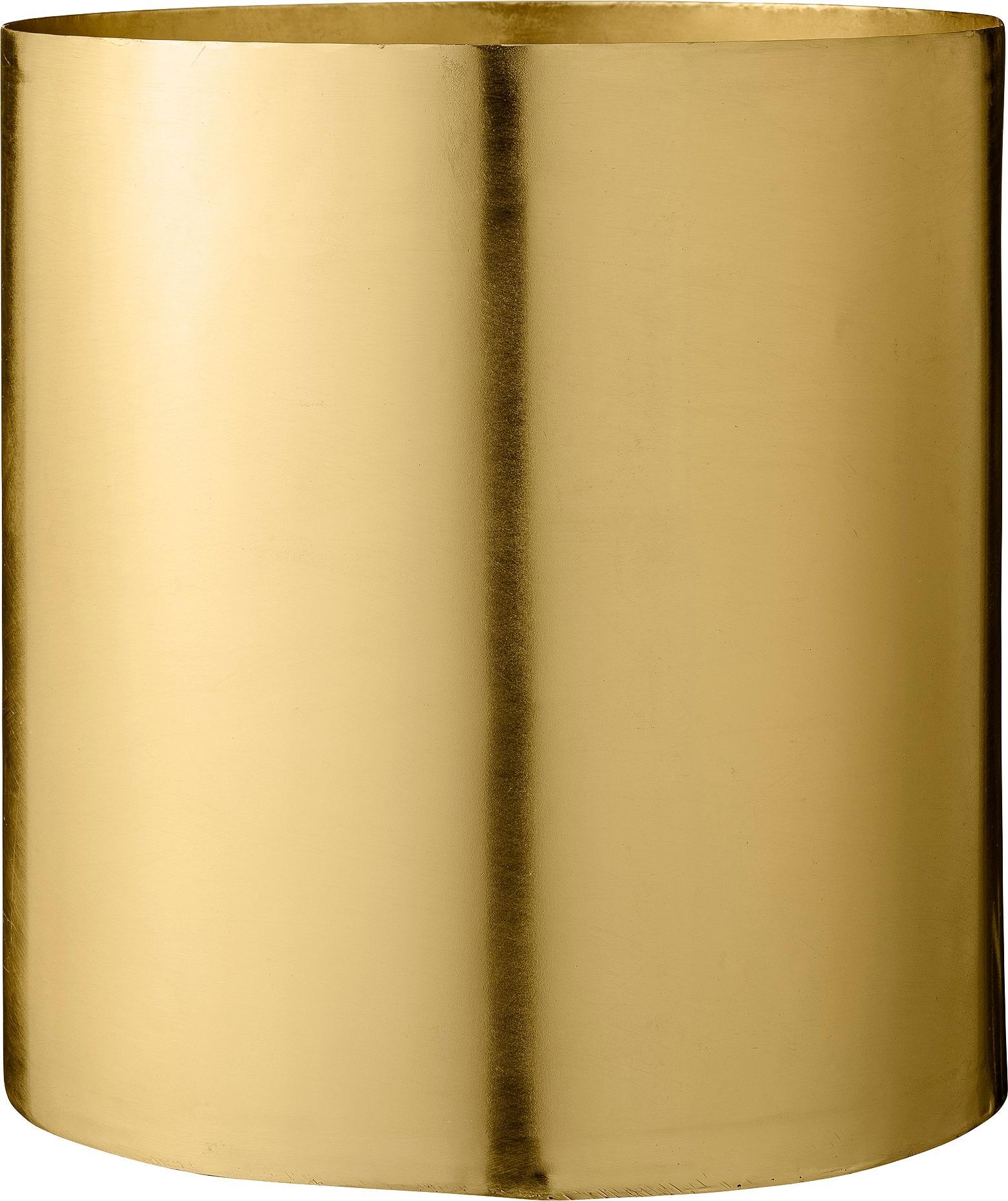 Plantenpot Sharin, Vermessingd metaal, Messingkleurig, Ø 22 x H 23 cm