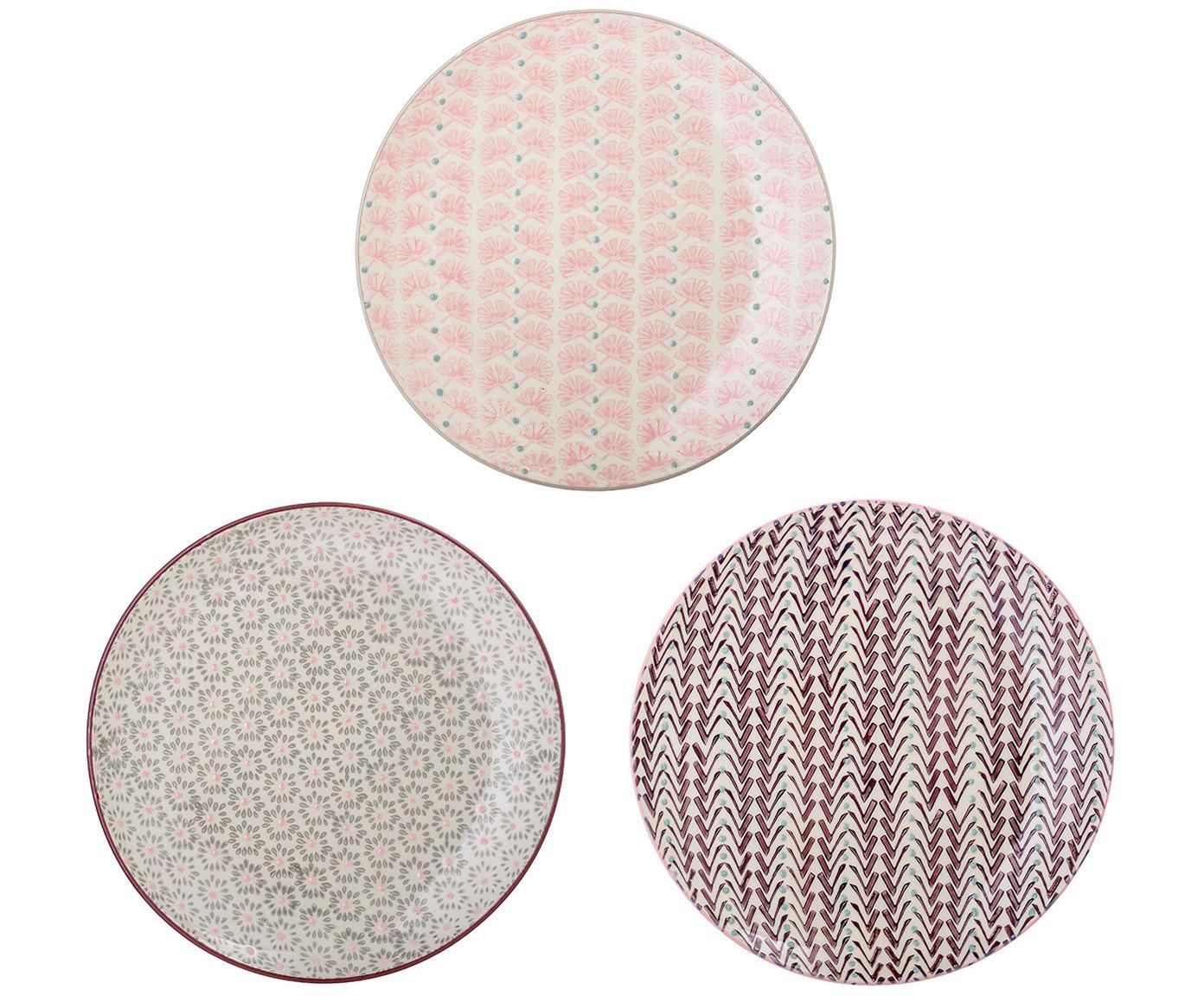 Set de platos postre Maya, 3pzas., Gres, Blanco crudo, verde, rosa, lila, Ø 22 cm