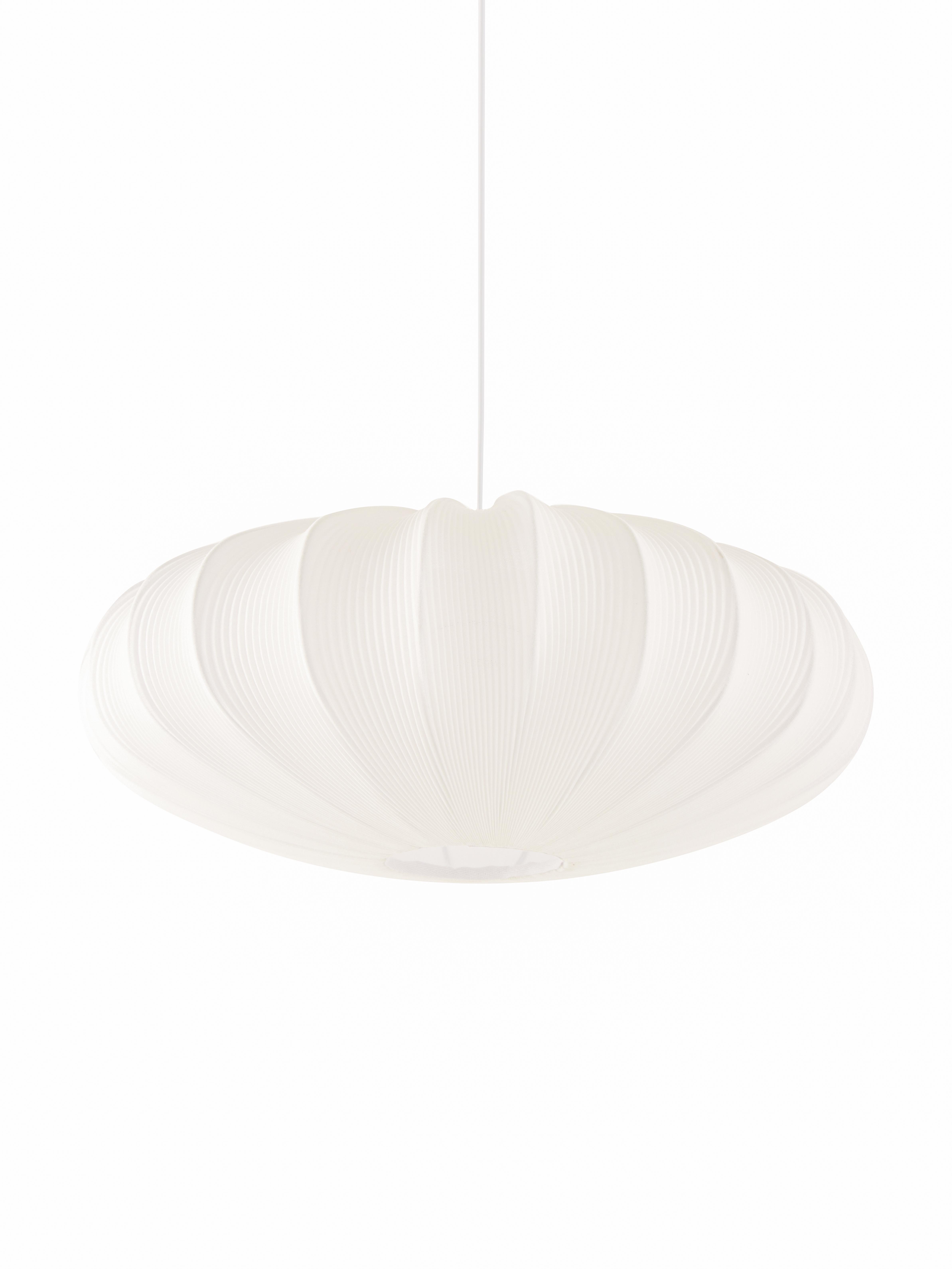 Pendelleuchte Mamsell, Lampenschirm: 60% Polyester, 40%Rayon, Gestell: Metall, Baldachin: Kunststoff, Weiß, Ø 55 x H 21 cm