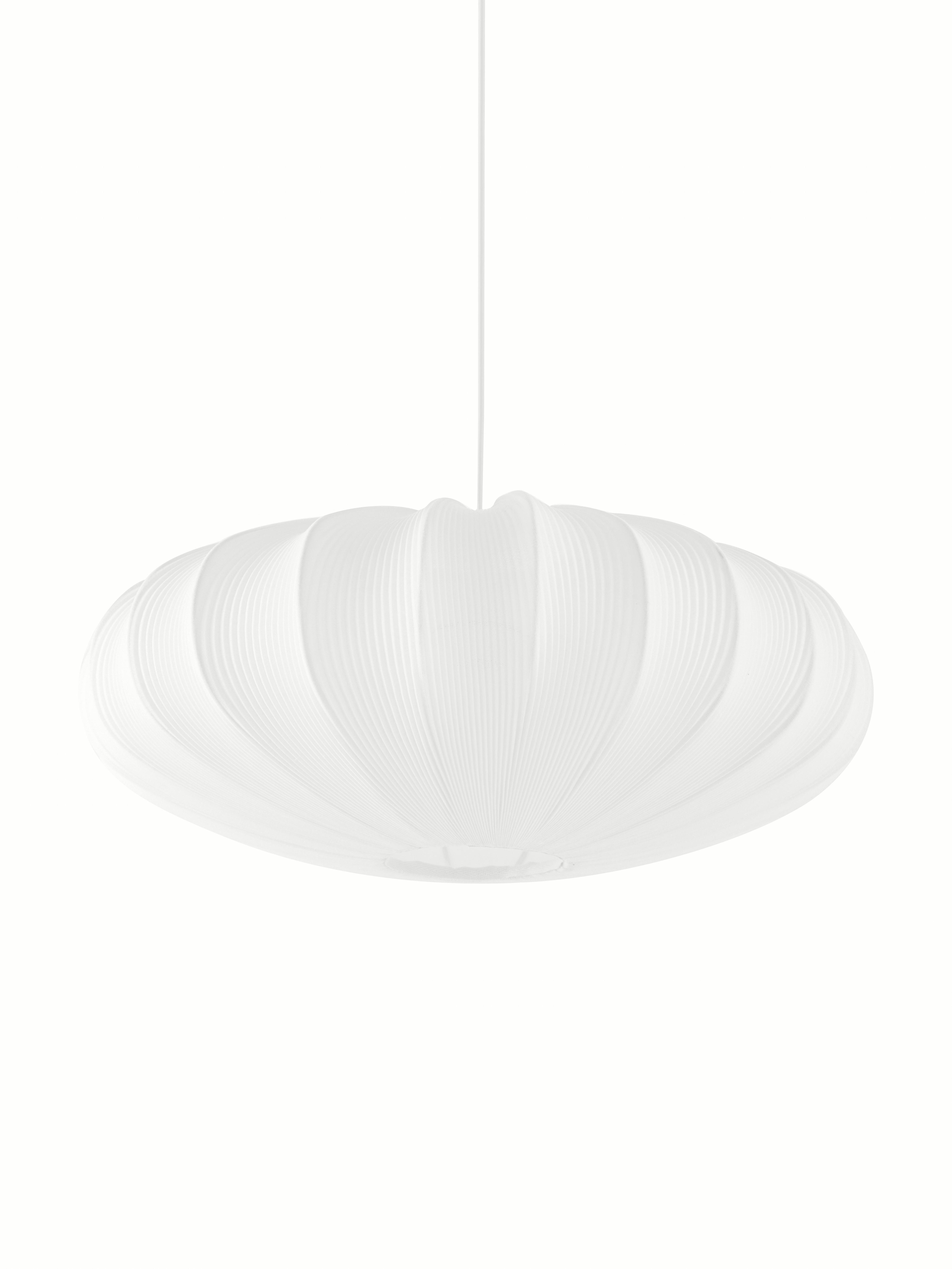 Lampada a sospensione Mamsell, Metallo, tessuto, Bianco, Ø 55 x Alt. 221 cm