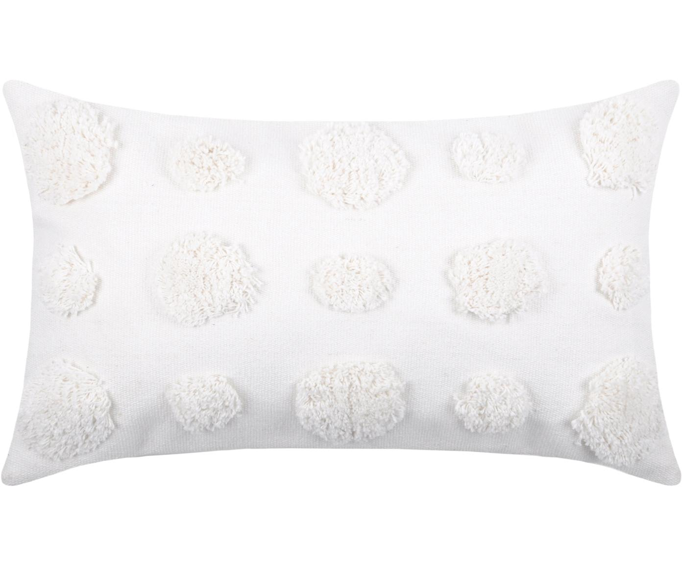 Cuscino con imbottitura e motivo a rilievo Sudda, Cotone, Bianco, Larg. 30 x Lung. 50 cm