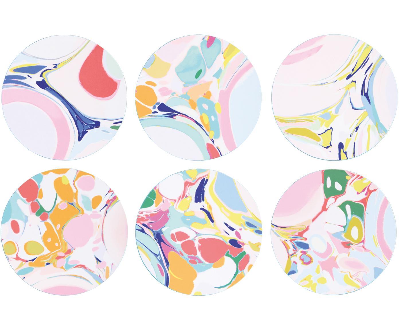 Set de posavasos Lillian, 6pzas., Corcho recubierto, Multicolor, Ø 10 cm
