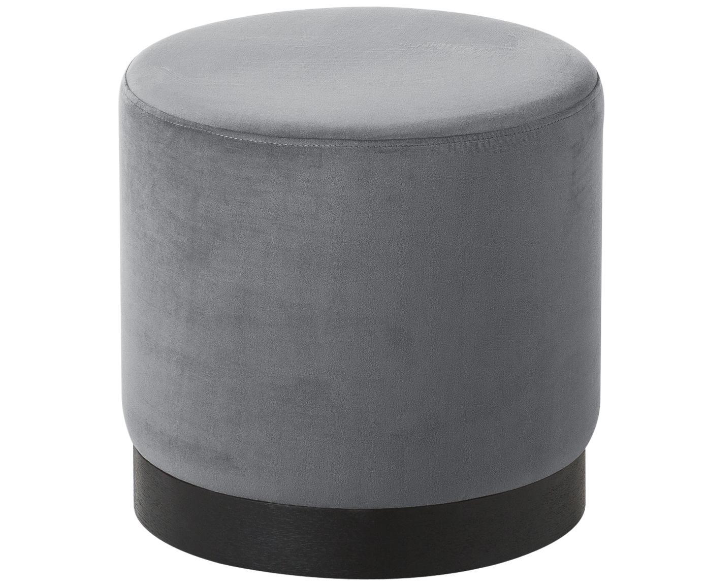 Puf de terciopelo Azalea, Tapizado: terciopelo (poliéster) 15, Tapizado: gris claro Base: madera de fresno, pintada en negro, Ø 40 x Al 39 cm