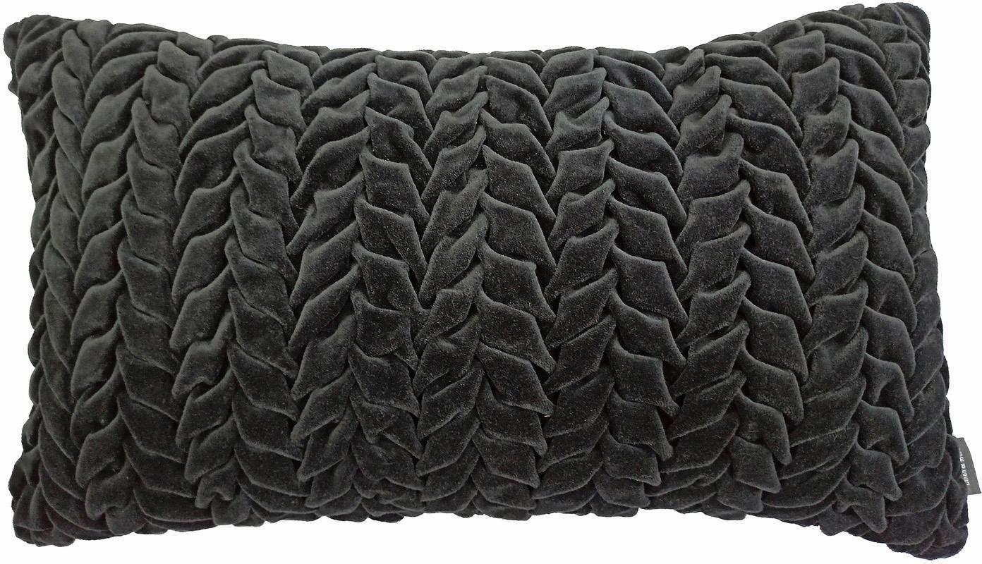 Fluwelen kussen Smock in antraciet met geribbeld oppervlak, met vulling, Zwart, 30 x 50 cm