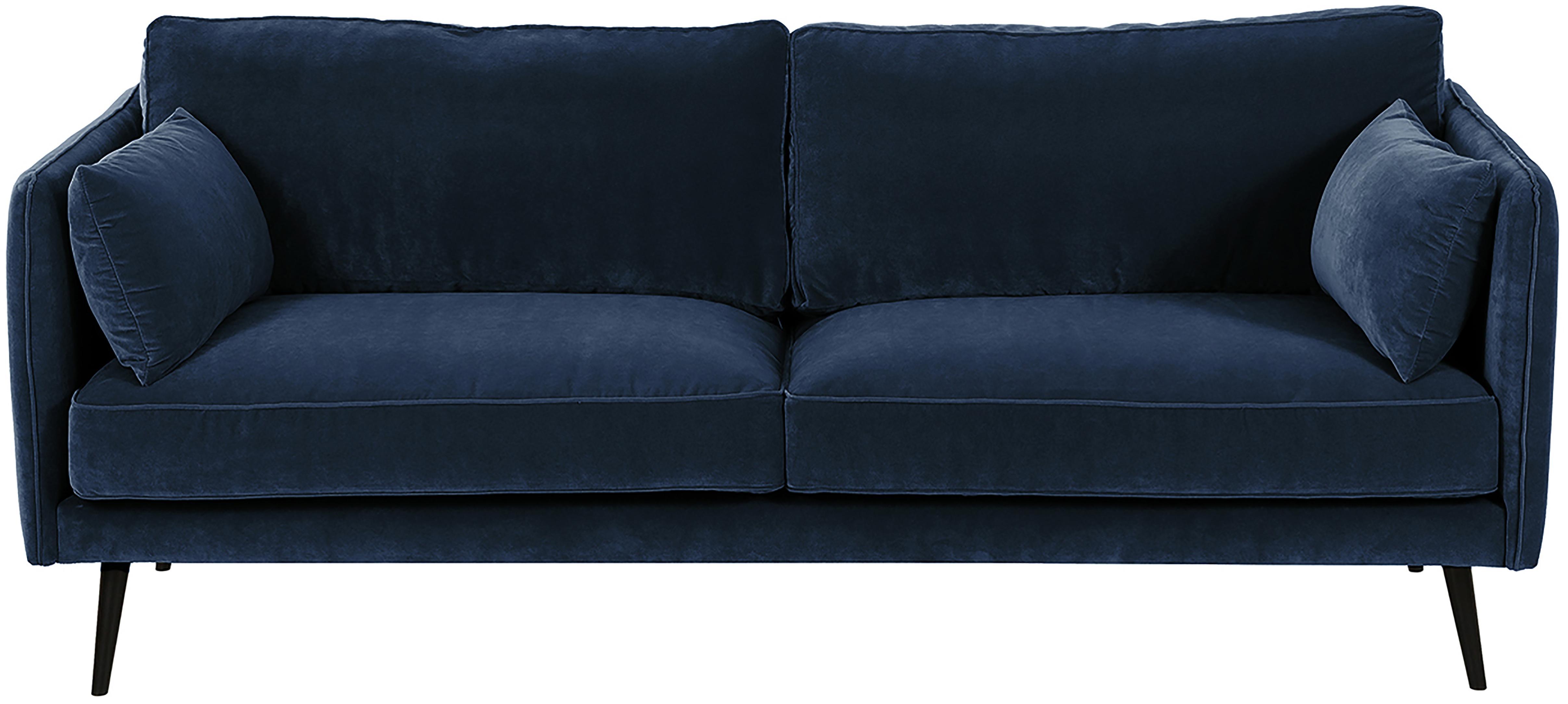 Sofá de terciopelo Paola (3plazas), Tapizado: terciopelo (poliéster) 70, Estructura: madera de abeto maciza, a, Patas: madera de abeto, pintada, Azul, An 209 x F 95 cm