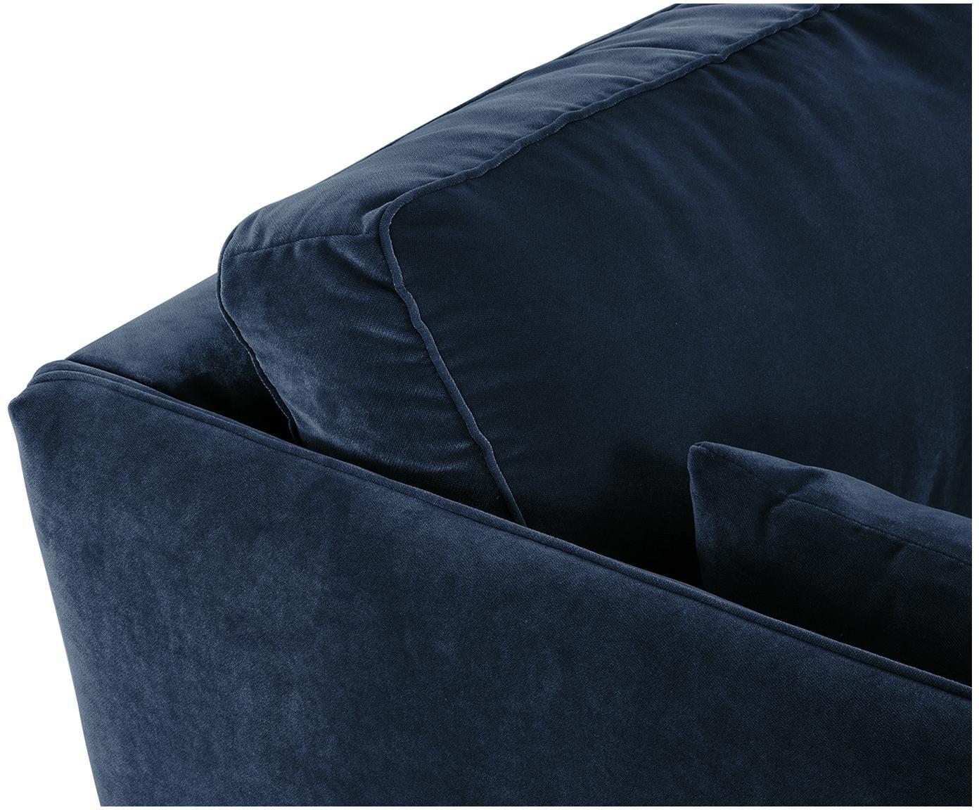 Sofa z aksamitu Paola (3-osobowa), Tapicerka: aksamit (poliester) 7000, Stelaż: masywne drewno świerkowe,, Nogi: drewno świerkowe, lakiero, Niebieski, S 209 x G 95 cm