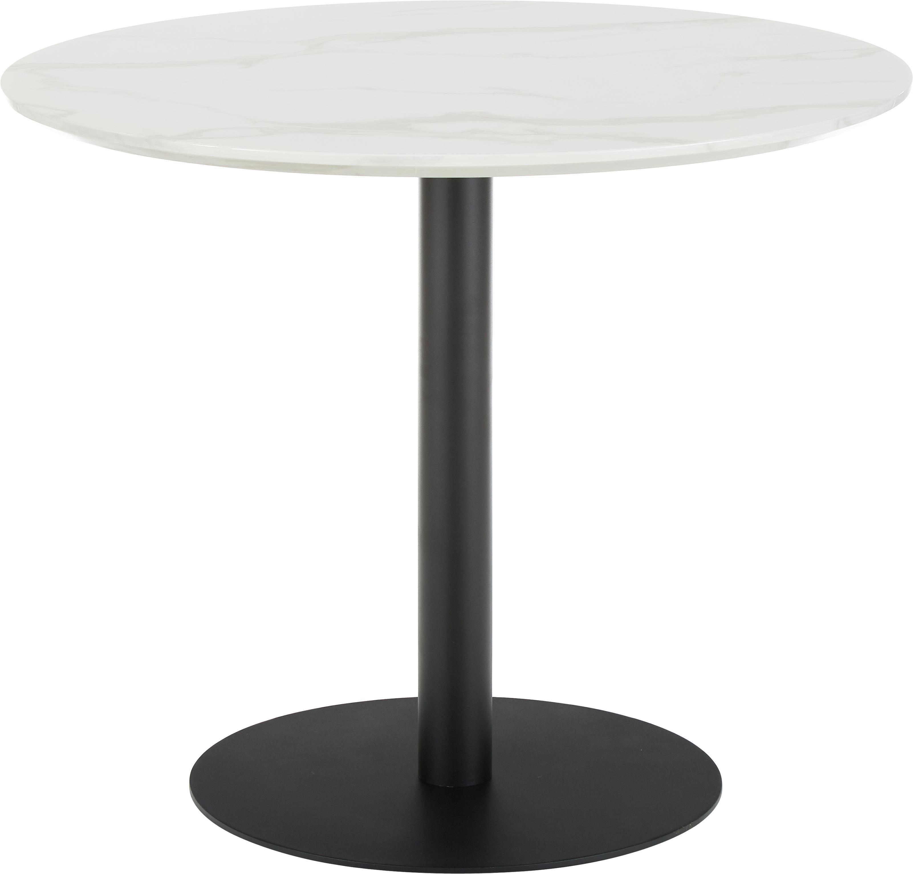 Okrągły stół do jadalni z imitacji marmuru Karla, Blat: płyta pilśniowa średniej , Blat: biały, marmurowy Noga stołu: czarny, matowy, Ø 90 x W 75 cm