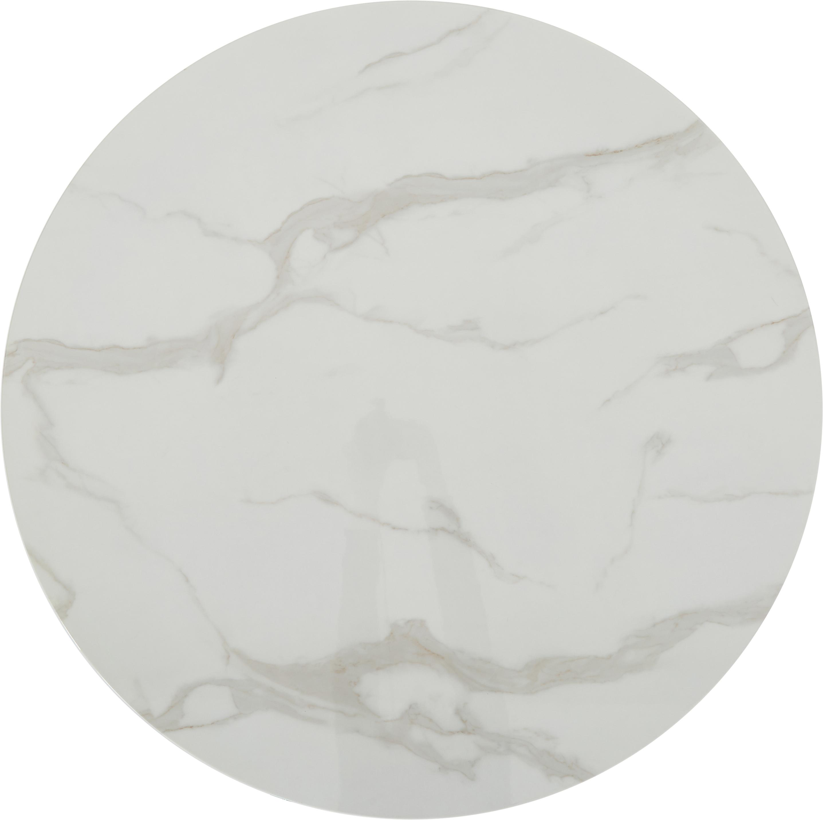 Table ronde blanche et noire Karla, Plateau: blanc, marbré Pied: noir, mat
