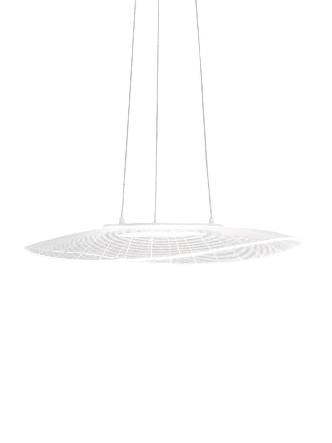 Design LED-Pendelleuchte Vela, Lampenschirm: Metall, Methacrylat, Baldachin: Metall, beschichtet, Weiß, 59 x 200 cm