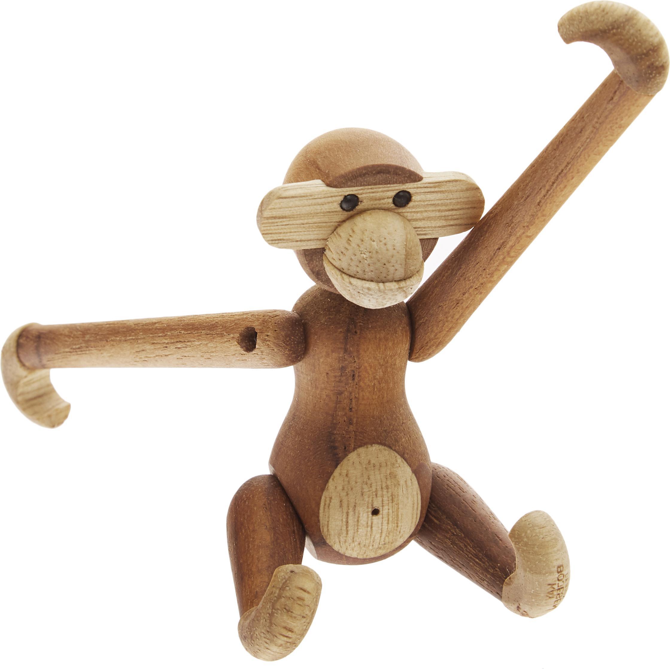 Oggetto decorativo in legno di teak Monkey, Legno di teak, legno di tiglio, verniciato, Legno di teak, legno di tiglio, Larg. 10 x Alt. 10 cm
