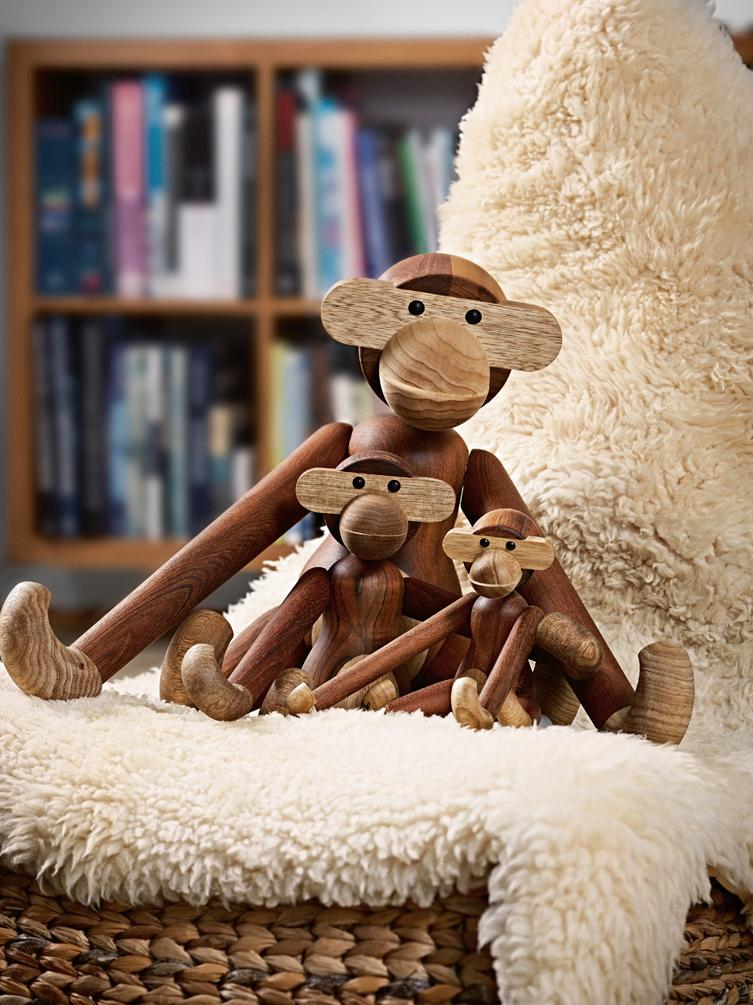 Designer-Deko-Objekt Monkey, Teakholz, Teakholz, Limbaholz, lackiert, Teakholz, Limbaholz, 10 x 10 cm