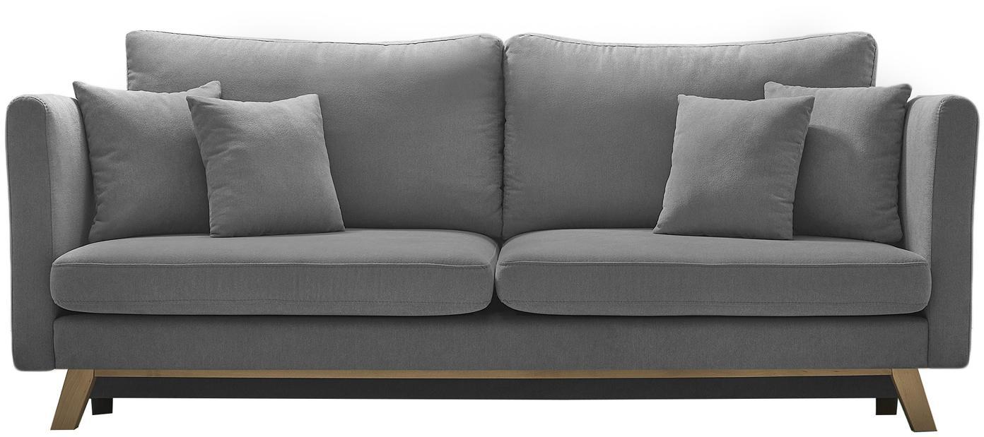 Sofa rozkładana Triplo (3-osobowa), Tapicerka: 100% aksamit poliestrowy, Nogi: metal lakierowany, Szary, matowy, S 216 x G 105 cm