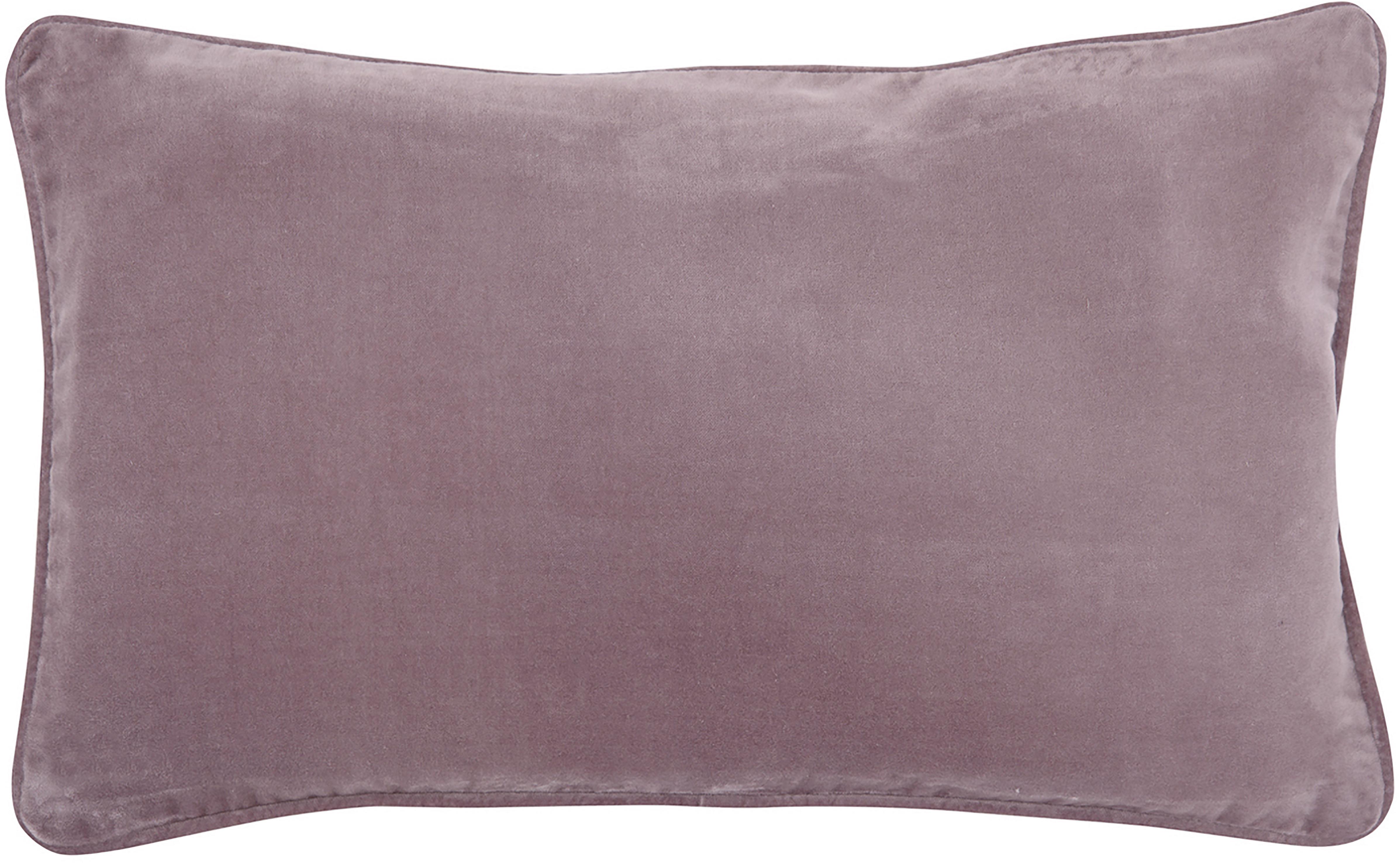 Poszewka na poduszkę z aksamitu Dana, 100% aksamit bawełniany, Brudny różowy, S 30 x D 50 cm