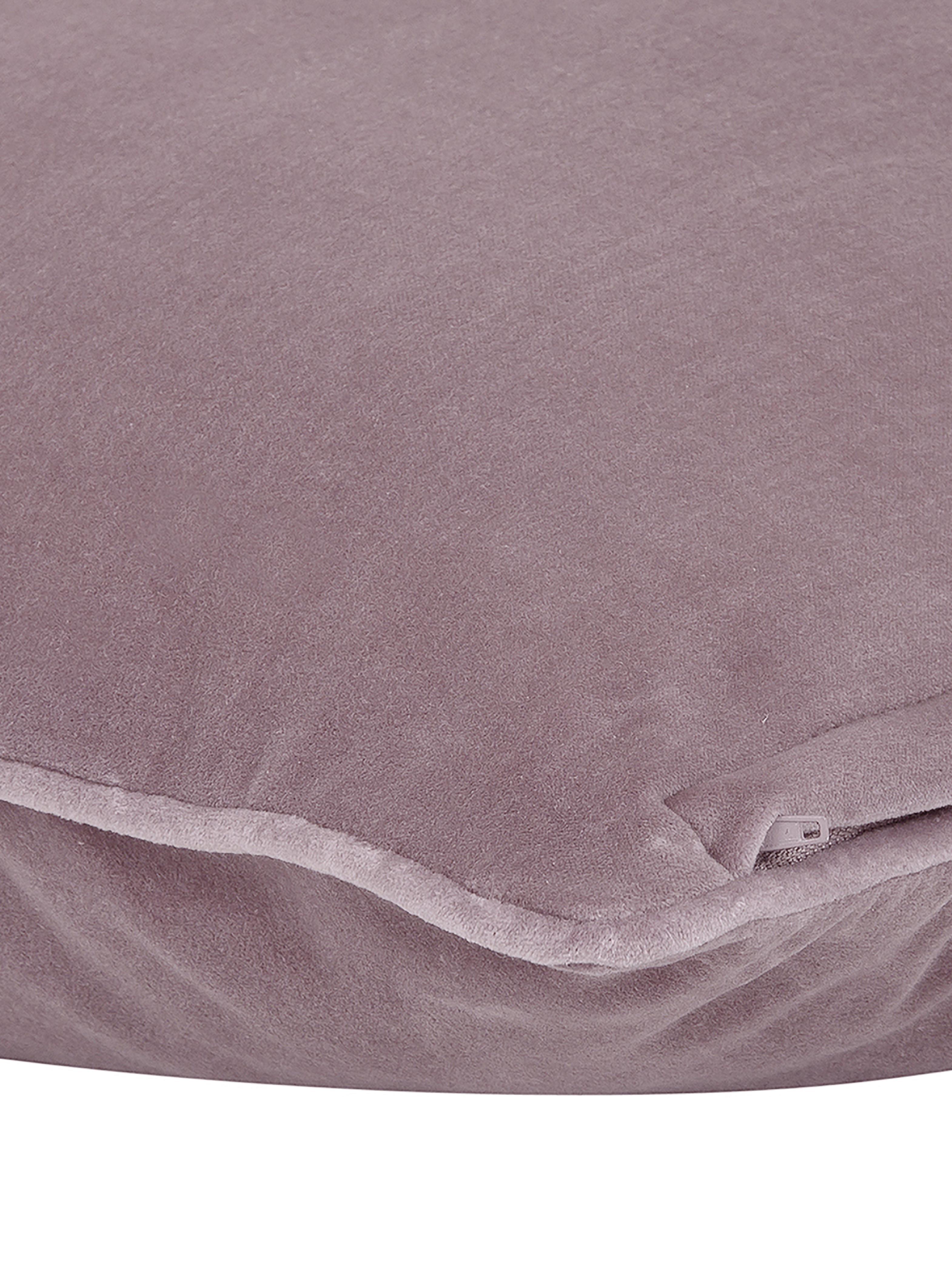 Einfarbige Samt-Kissenhülle Dana in Altrosa, 100% Baumwollsamt, Altrosa, 30 x 50 cm