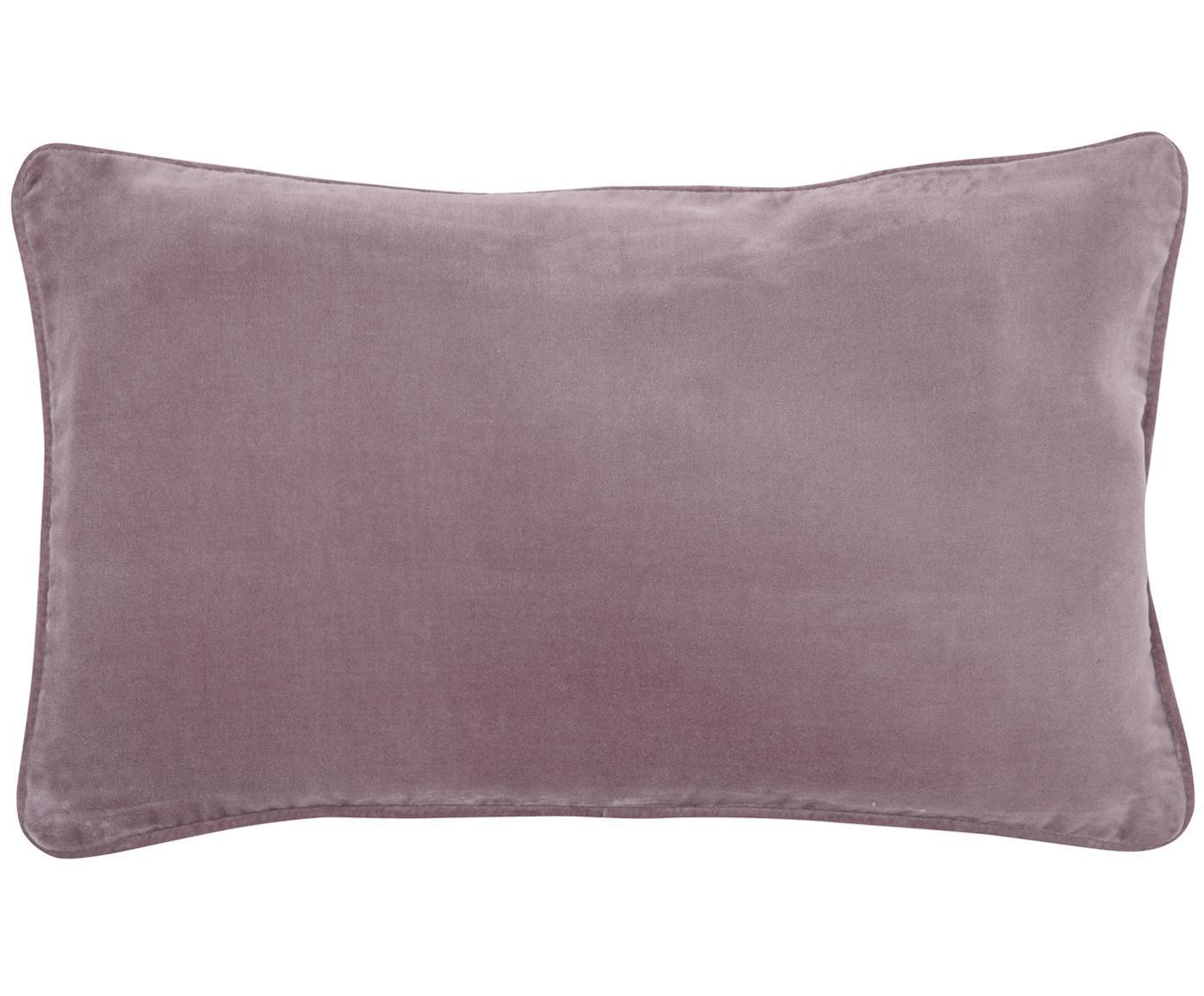 Funda de cojín de terciopelo Dana, Terciopelo de algodón, Palo rosa, An 30 x L 50 cm