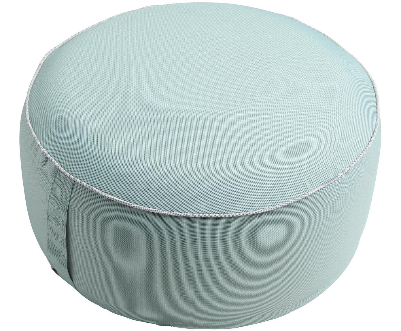 Puf de exterior Maxime, Funda: poliéster, resistente a l, Verde menta, negro, Ø 55 x Al 25 cm