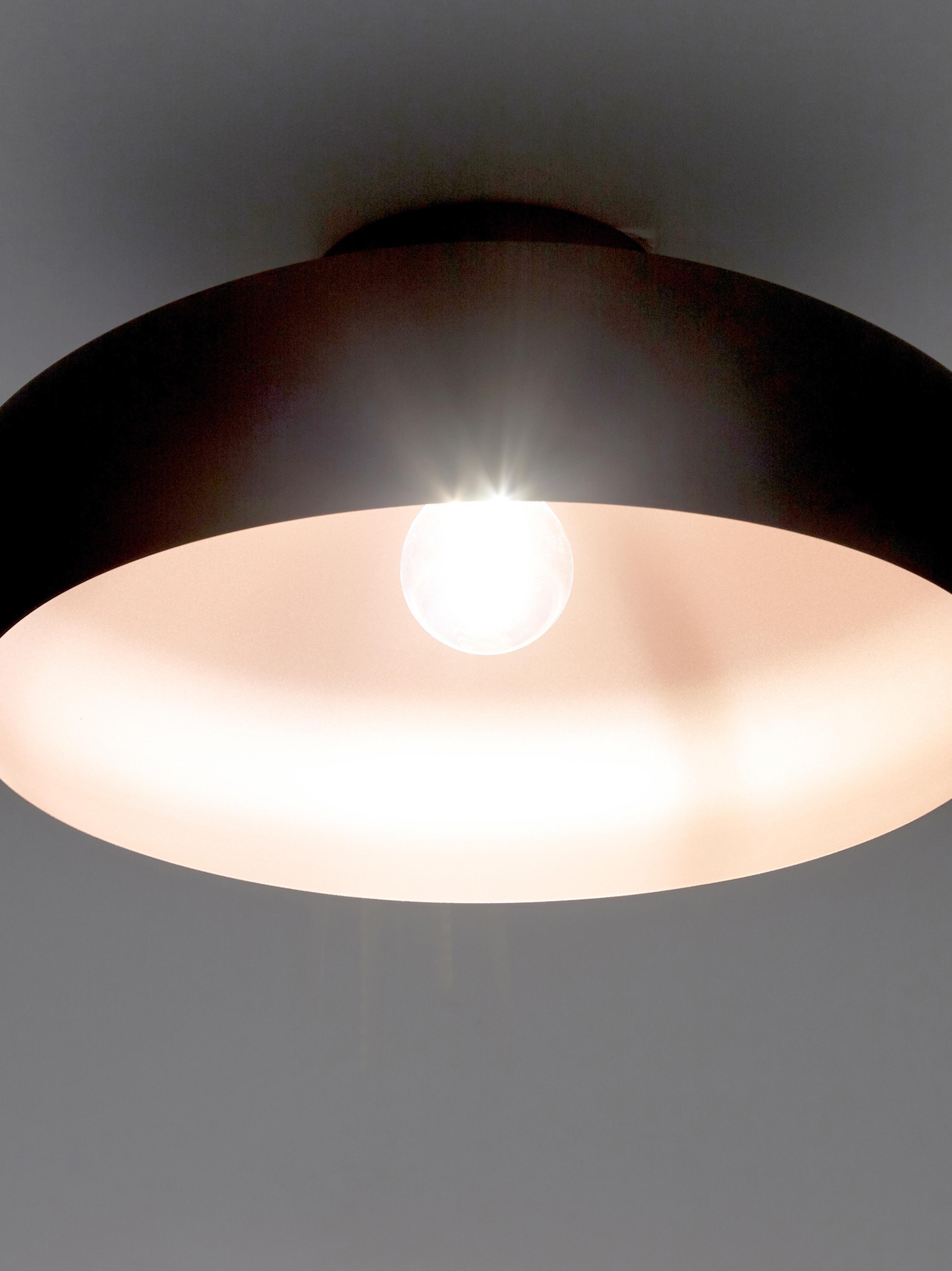 Deckenleuchte Jeff, Baldachin: Metall, pulverbeschichtet, Lampenschirm: Metall, pulverbeschichtet, Baldachin: Schwarz,Kupferfarben, ∅ 40 x H 17 cm