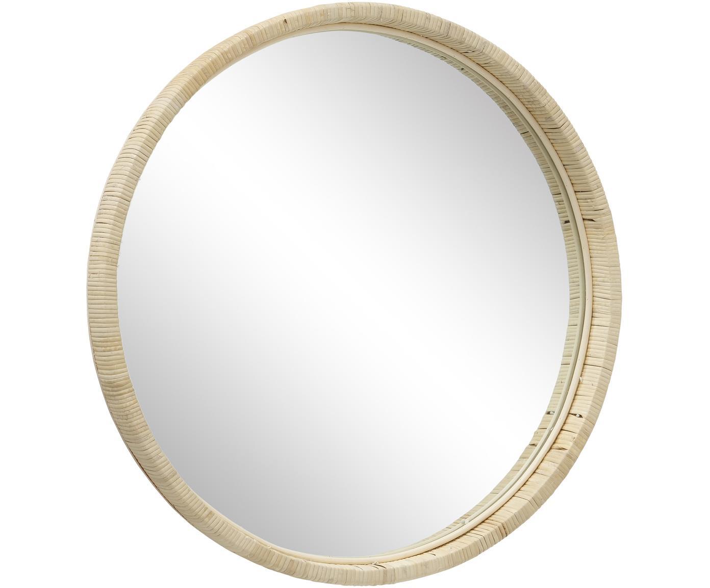 Ronde wandspiegel Yori met bamboe lijst, Bamboe, spiegelglas, Beige, Ø 50 cm