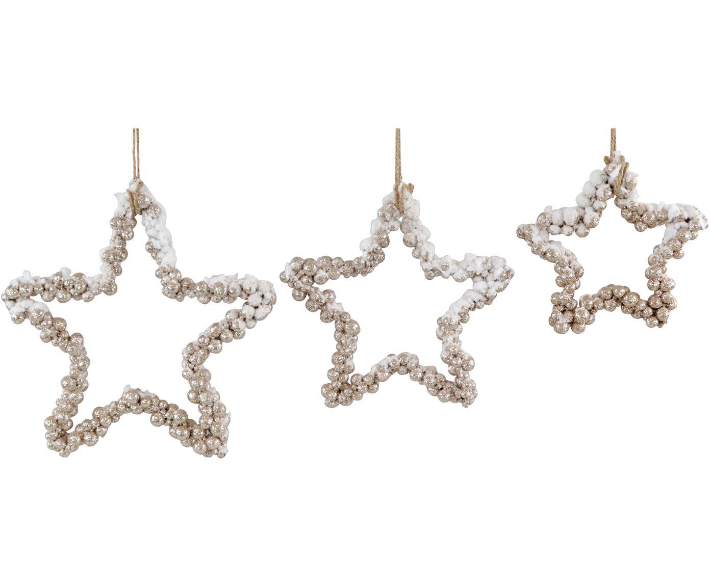 Decoratieve hangersset Snowy, 3-delig, Polystyreen, kunststof, metaal, hout, Goudkleurig, Verschillende formaten