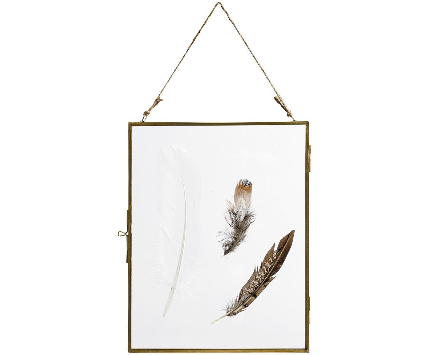 Bilderrahmen Pioros mit Federn, Rahmen: Metall, beschichtet, Front: Glas, Messingfarben, Transparent, 20 x 25 cm