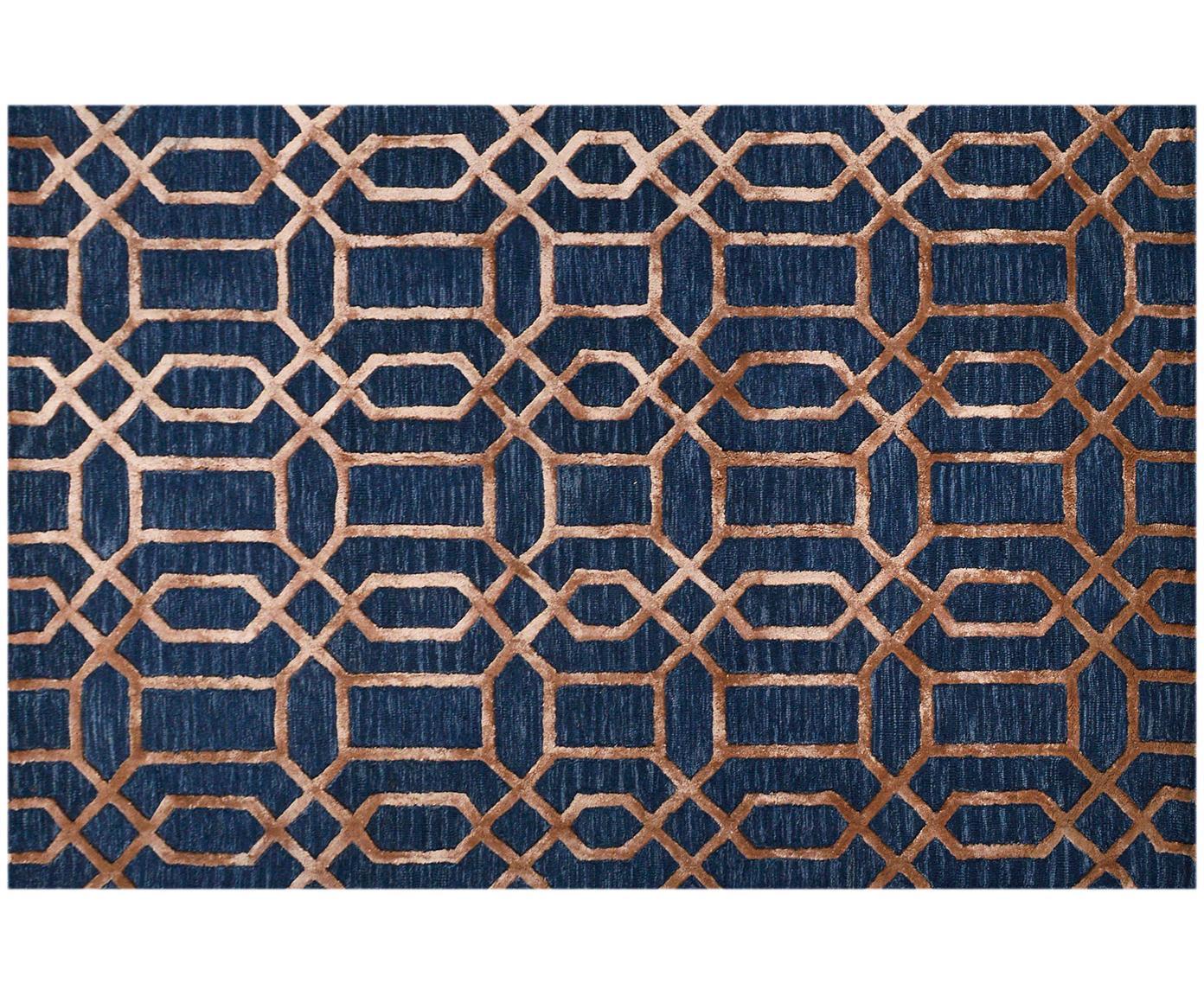 Alfombra artesanal de lana Vegas, Parte superior: 80%lana, 20%viscosa, Reverso: algodón, Azul oscuro, marrón, An 120 x L 185 cm (Tamaño S)