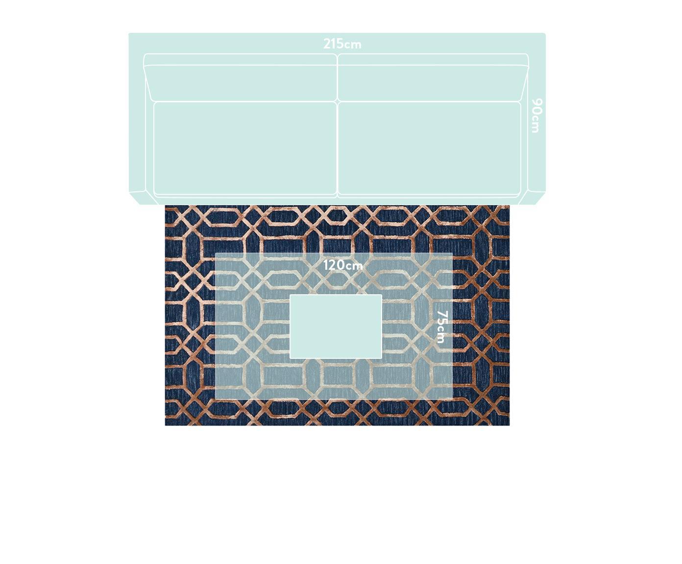Handgetufteter Wollteppich Vegas mit Hoch-Tief-Effekt, Flor: 80% Wolle, 20% Viskose, Dunkelblau, Braun, B 120 x L 185 cm (Größe S)