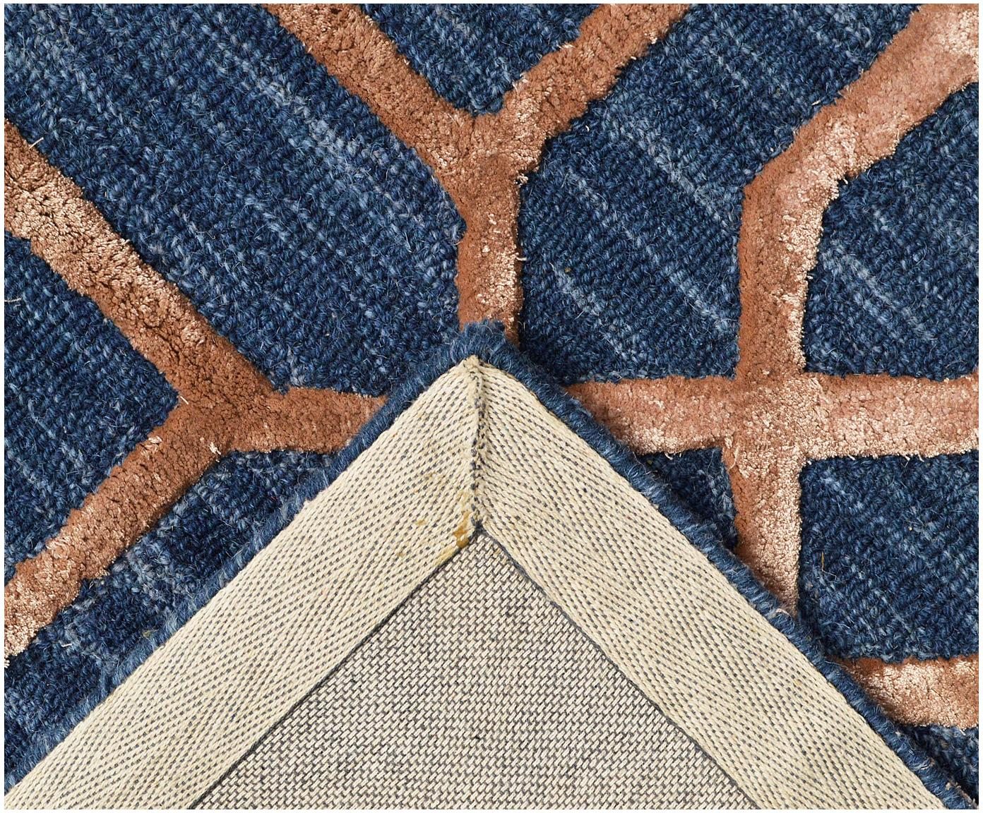 Ręcznie tuftowany dywan z wełny Vegas, Ciemnyniebieski, brązowy, S 120 x D 185 cm (Rozmiar S)
