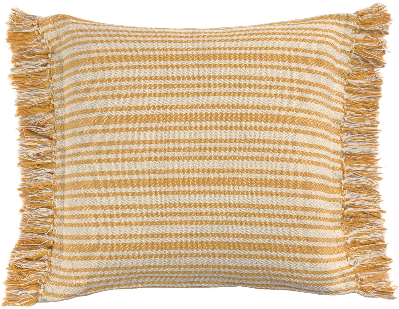 Gestreifte Kissenhülle Puket, 100% Baumwolle, Gebrochenes Weiß, Senfgelb, 45 x 45 cm