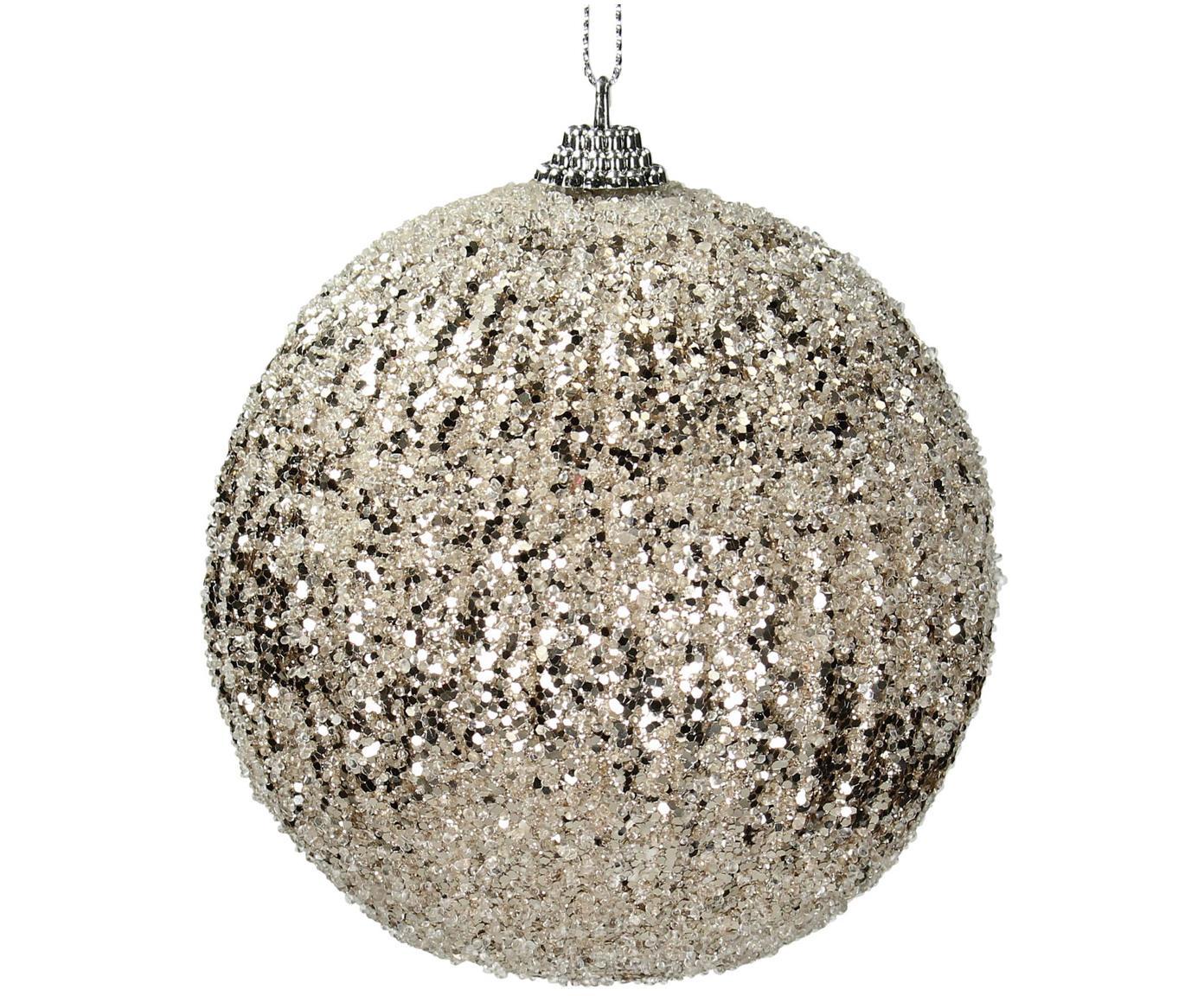 Kerstballen Dazzle, 2 stuks, Kunststof, glanzend, Champagnekleurig, Ø 10 cm