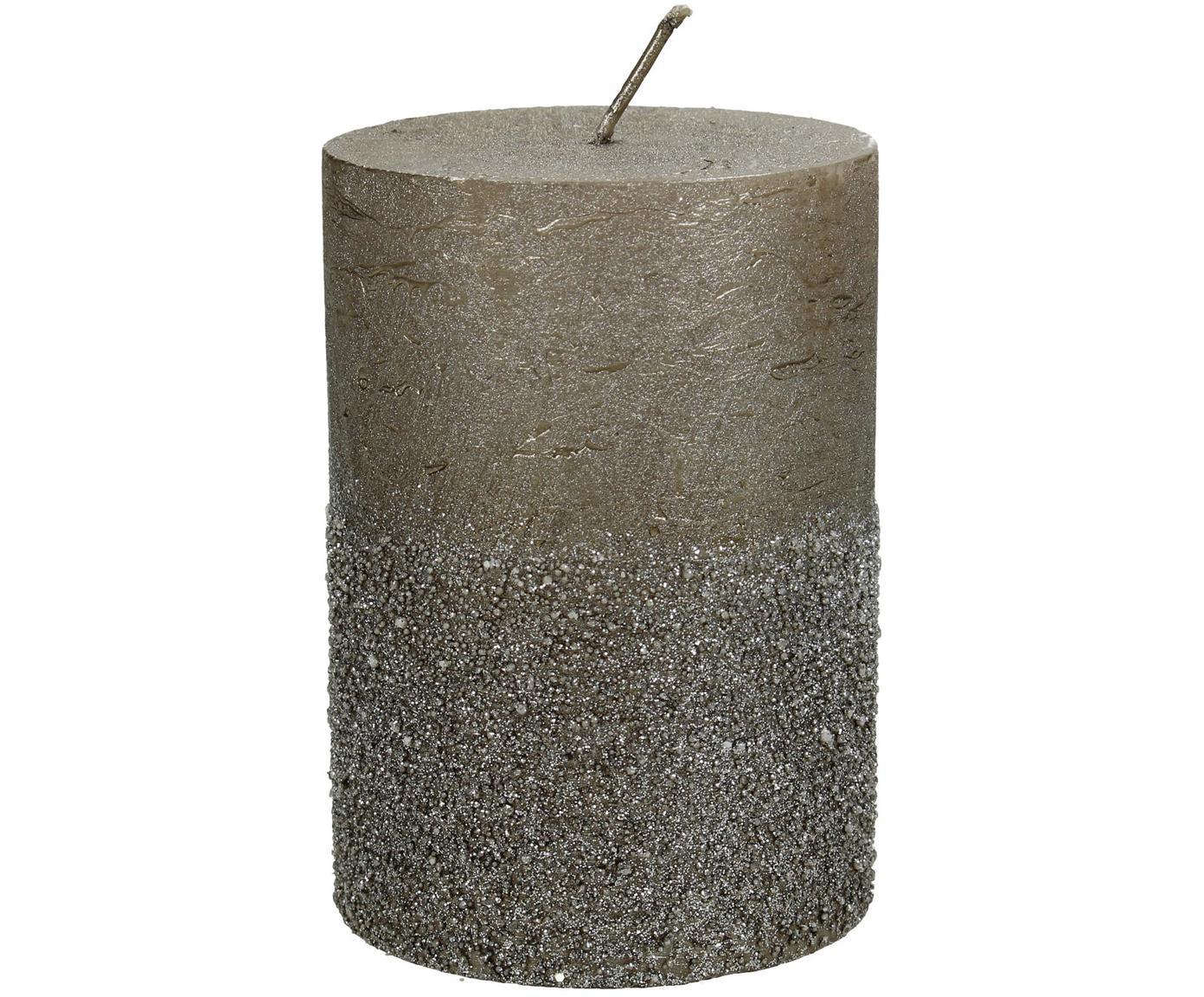 Candela pilastro Glitters, Cera, Grigio, Ø 7 x Alt. 10 cm