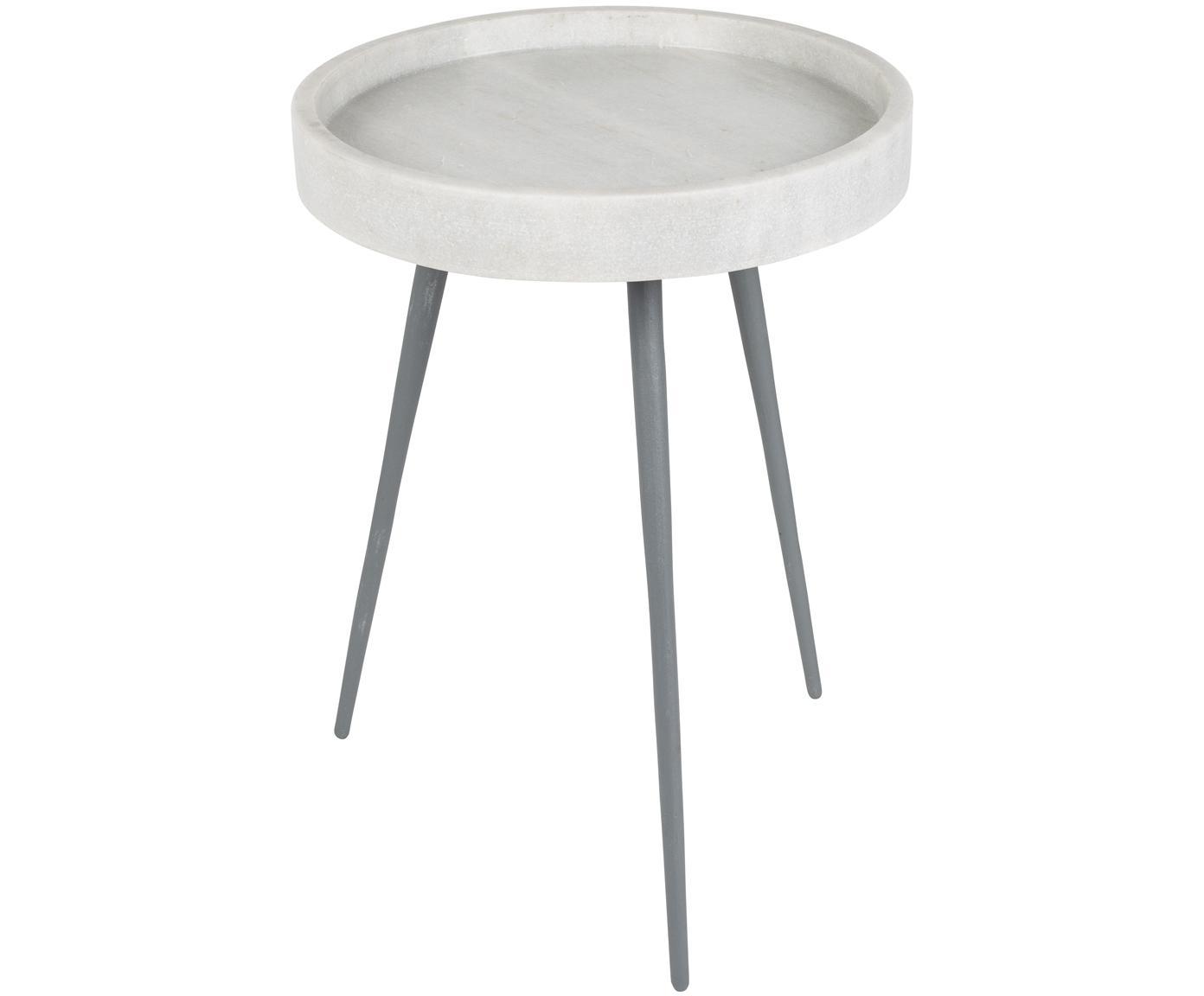 Tavolino rotondo con piano in marmo Karrara, Piano d'appoggio: marmo, Gambe: metallo verniciato a polv, Piano del tavolo: bianco, marmo<br>Gambe: grigio, Ø 33 x Alt. 45 cm