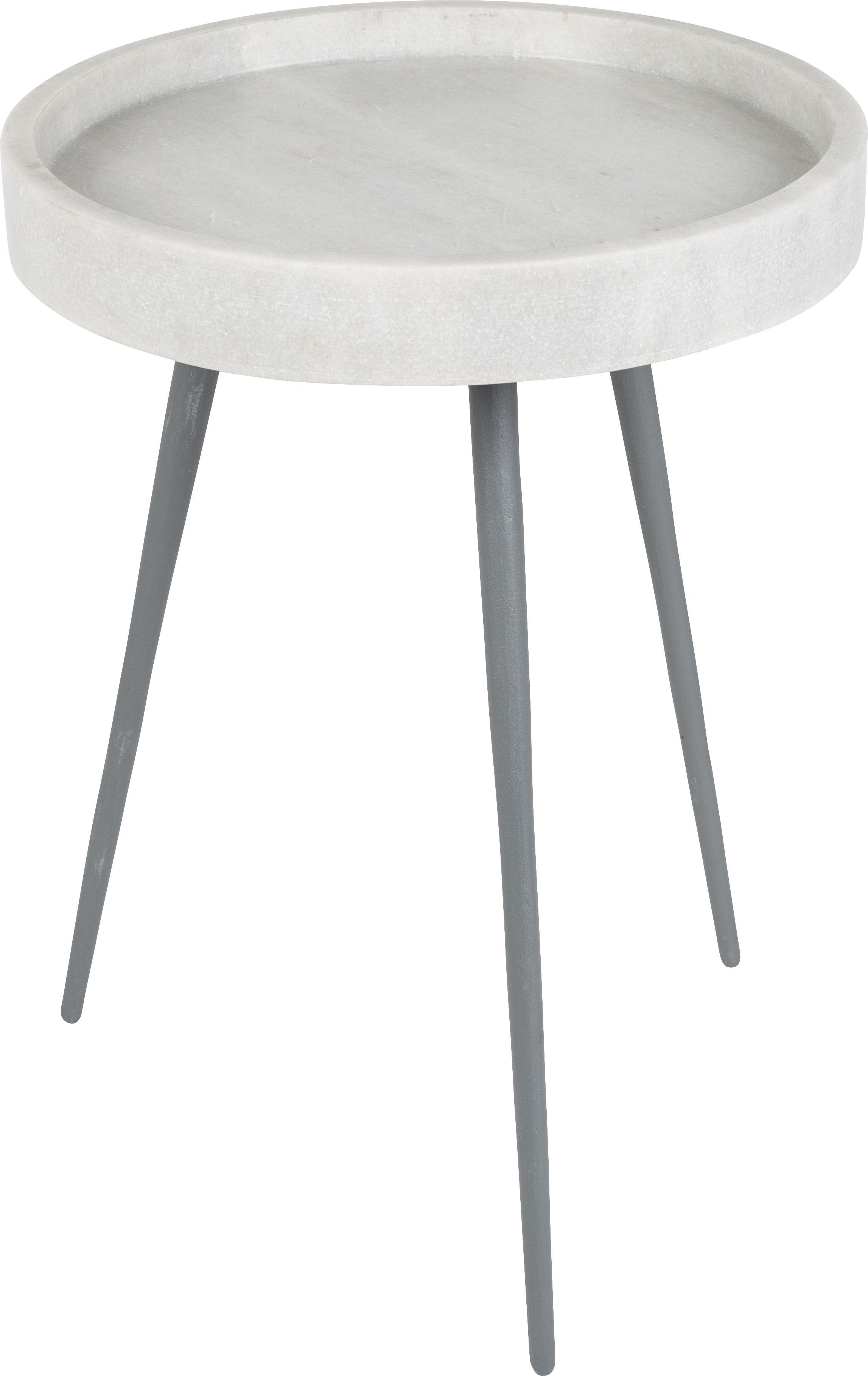Tavolino rotondo con piano in marmo Karrara, Piano d'appoggio: marmo, Gambe: metallo verniciato a polv, Bianco, grigio, Ø 33 x Alt. 45 cm
