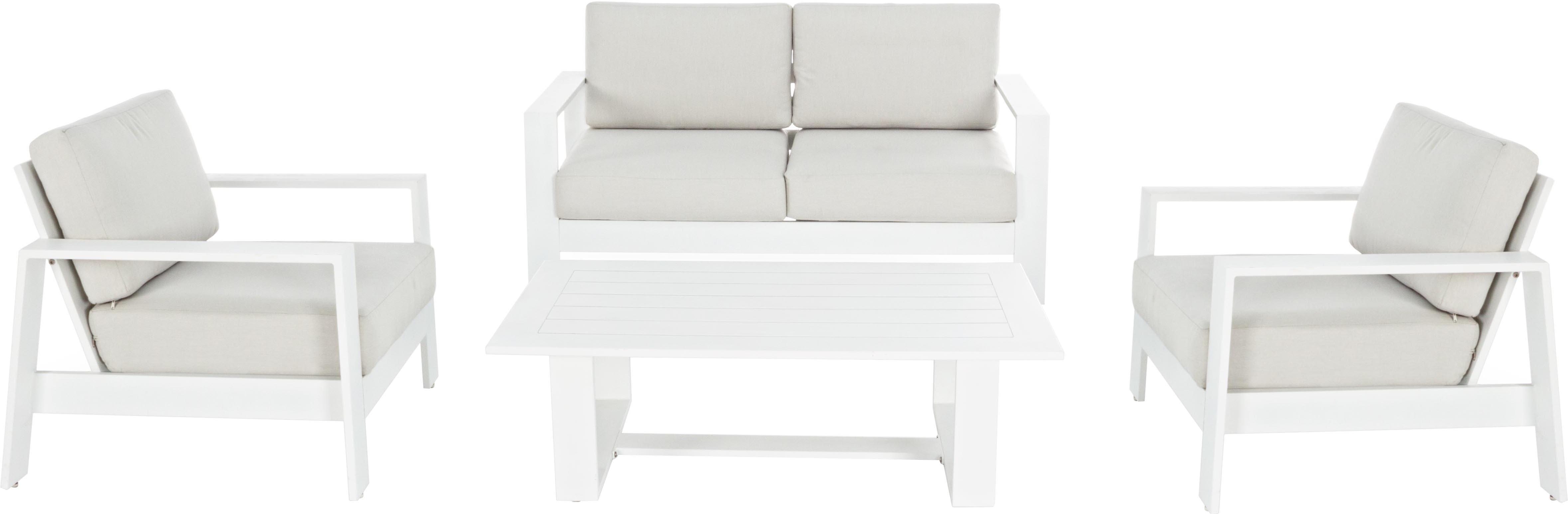 Garten-Lounge-Set Atlantic, 4-tlg., Gestell: Aluminium, pulverbeschich, Bezug: Polyester, Weiss, Hellgrau, Set mit verschiedenen Grössen