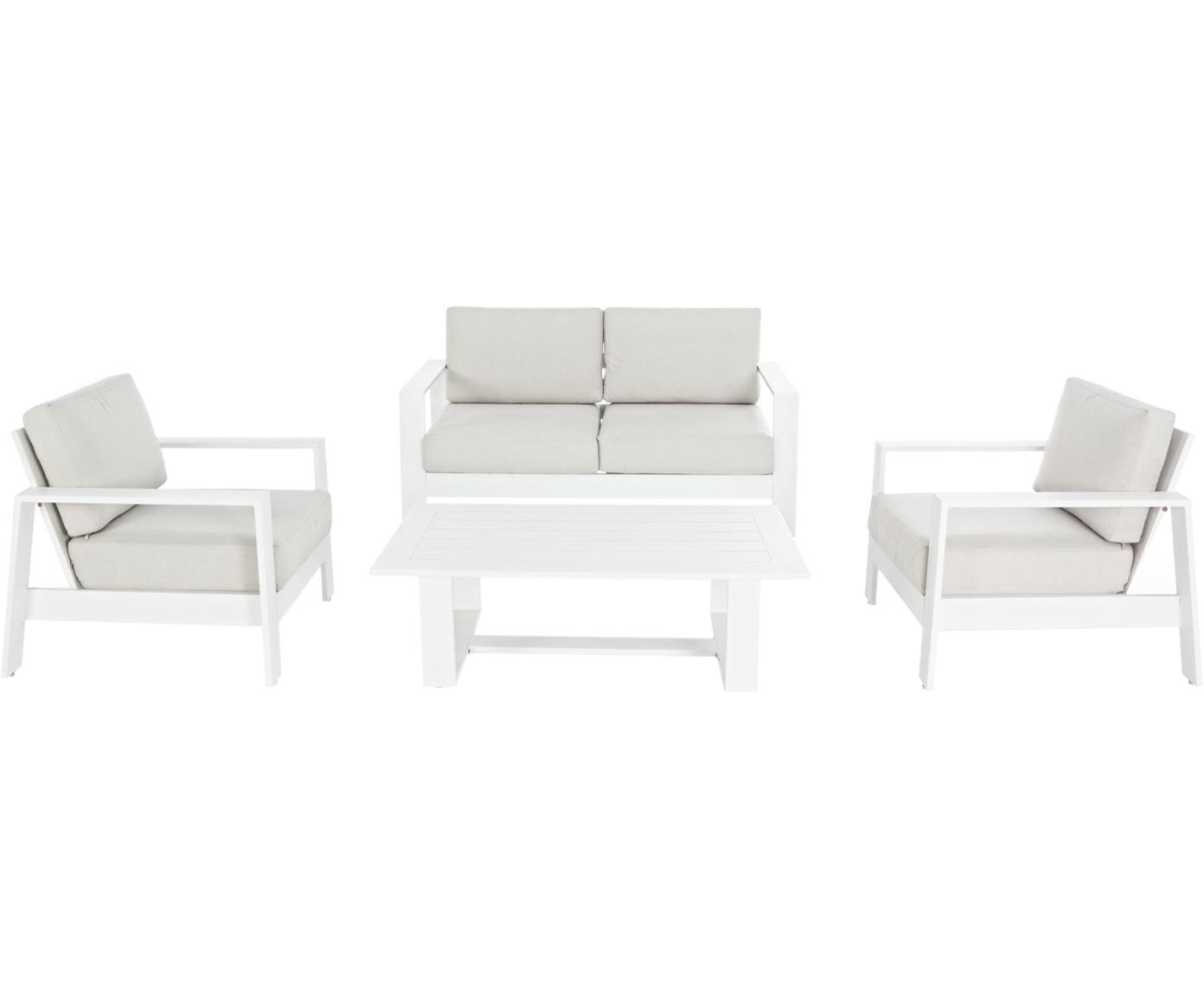 Salotto da giardino Atlantic 4 pz, Struttura: alluminio verniciato a po, Rivestimento: poliestere, Bianco, grigio chiaro, Diverse dimensioni