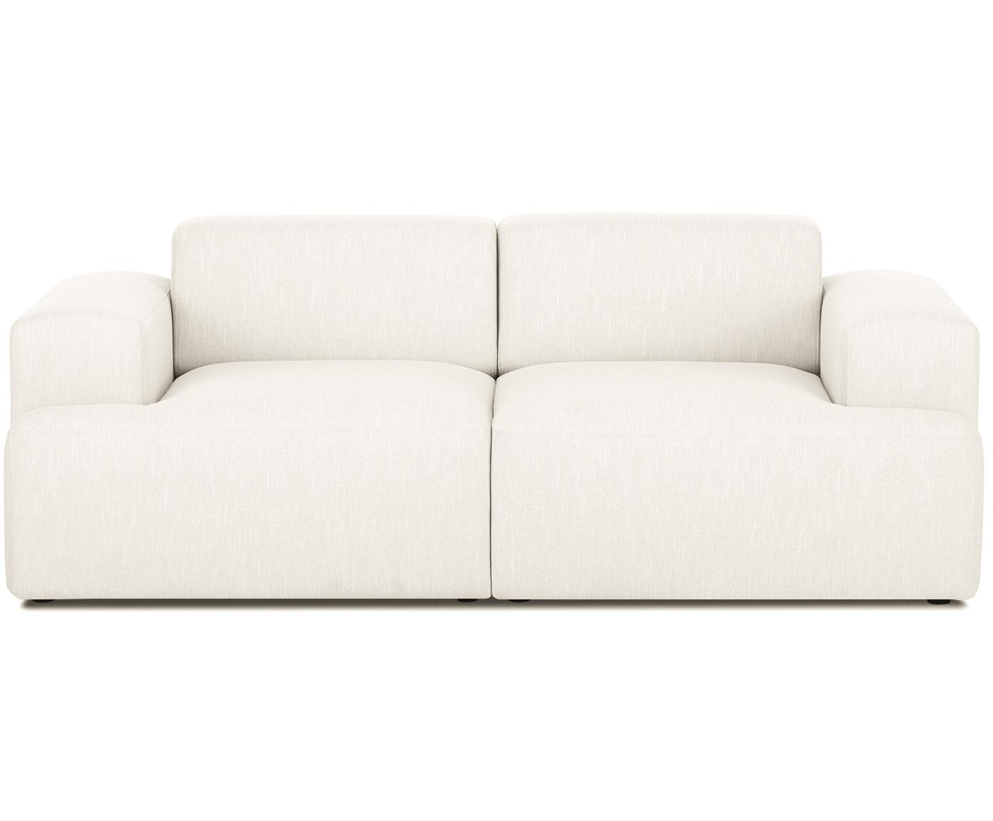 Bank Melva (2-zits), Bekleding: polyester, Frame: massief grenenhout, spaan, Poten: grenenhout, Geweven stof beige, B 200 x D 101 cm