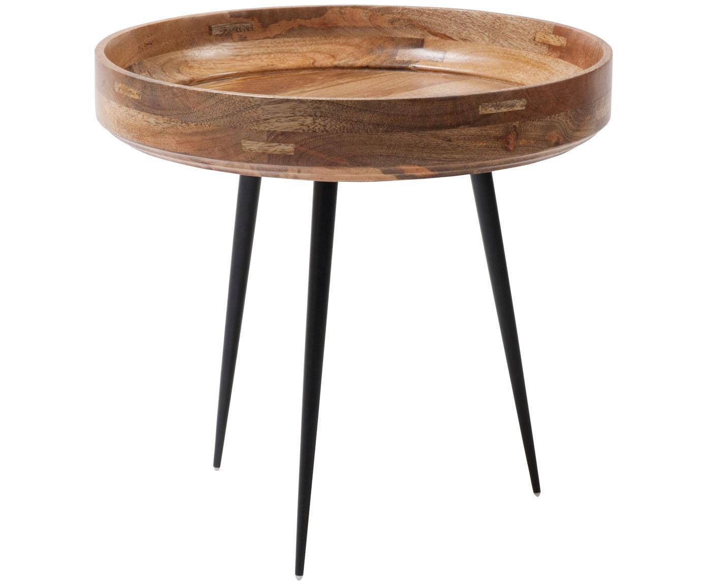 Stolik pomocniczy z drewna mangowego Bowl Table, Blat: drewno mangowe, lakierowa, Nogi: stal, malowane proszkowo, Drewno mangowe, czarny, Ø 40 x 38 cm