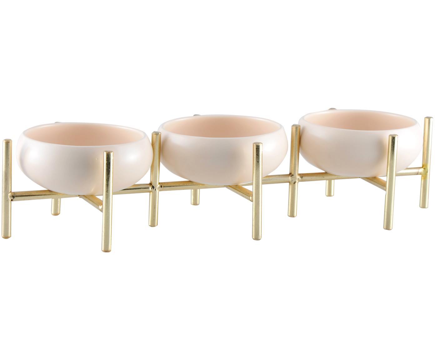 Set de cuencos Paradise, 4pzas., Estructura: metal recubierto, Cuencos: porcelana, Dorado, beige claro, An 36 x Al 8 cm
