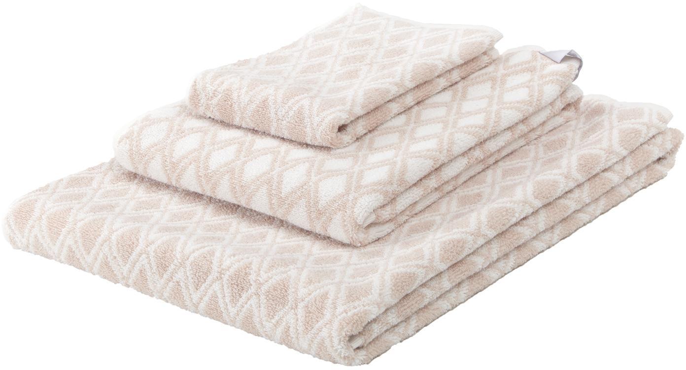 Set 3 asciugamani reversibili Ava, Sabbia, bianco crema, Diverse dimensioni