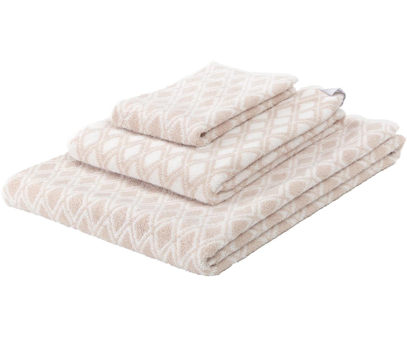 Dubbelzijdige handdoekenset Ava, 3-delig, 100% katoen, middelzware kwaliteit, 550 g/m², Zandkleurig, crèmewit, Verschillende formaten