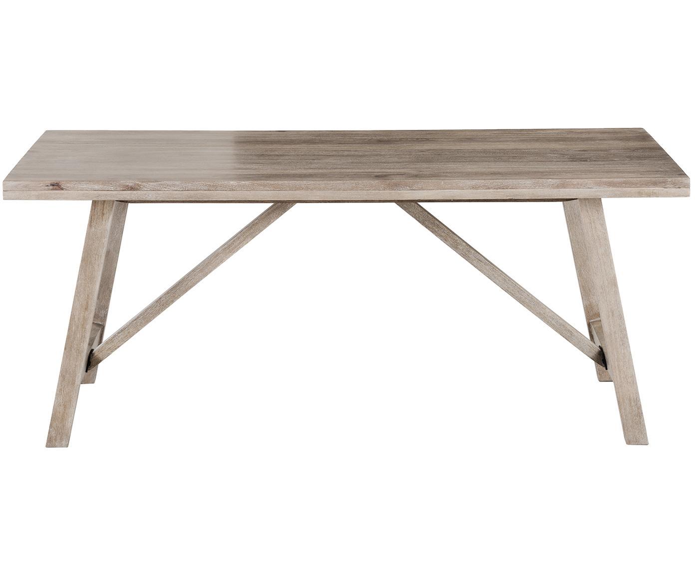 Stół do jadalni z litego drewna Memphis, Lite drewno mangowe, lakierowane, Drewno mangowe, biały rozmyty, S 180 x W 76 cm
