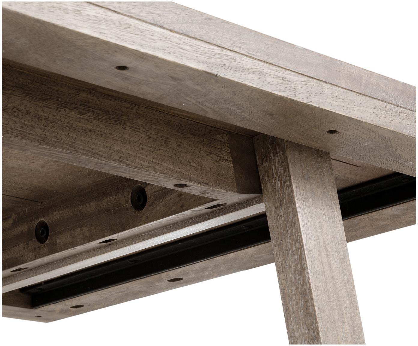 Massivholz Esstisch Memphis, Massives Mangoholz, lackiert, Mangoholz, weiss gewaschen, 180 x 76 cm