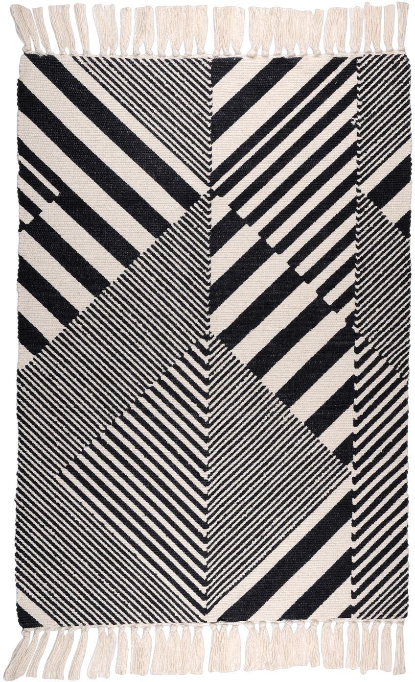 Baumwollteppich Beely mit grafischem Muster in Schwarz/Weiß, 100% Baumwolle, Schwarz, Gebrochenes Weiß, B 60 x L 90 cm (Größe XXS)