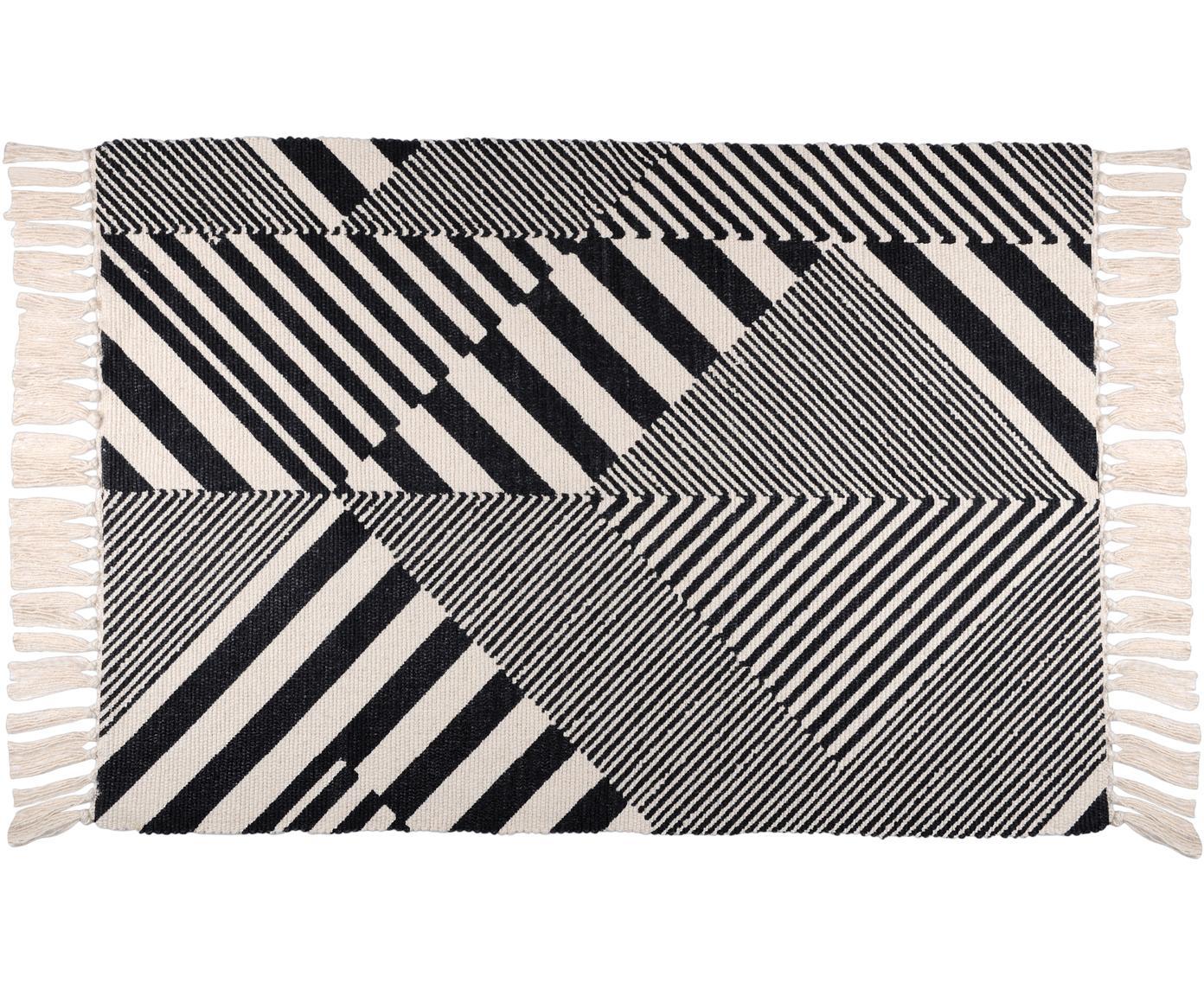 Baumwollteppich Beely mit grafischem Muster in Schwarz/Weiss, 100% Baumwolle, Schwarz, Gebrochenes Weiss, B 60 x L 90 cm (Grösse XXS)
