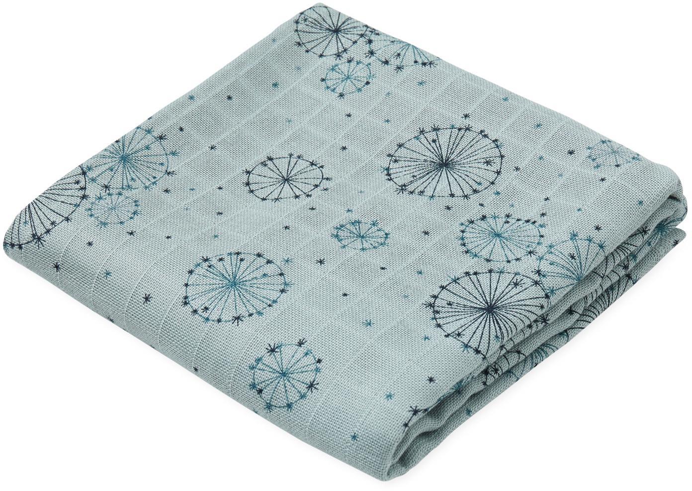 Copertina in cotone organico Dandelion 2 pz, Cotone organico, certificato GOTS, Tonalità blu, Larg. 70 x Lung. 70 cm