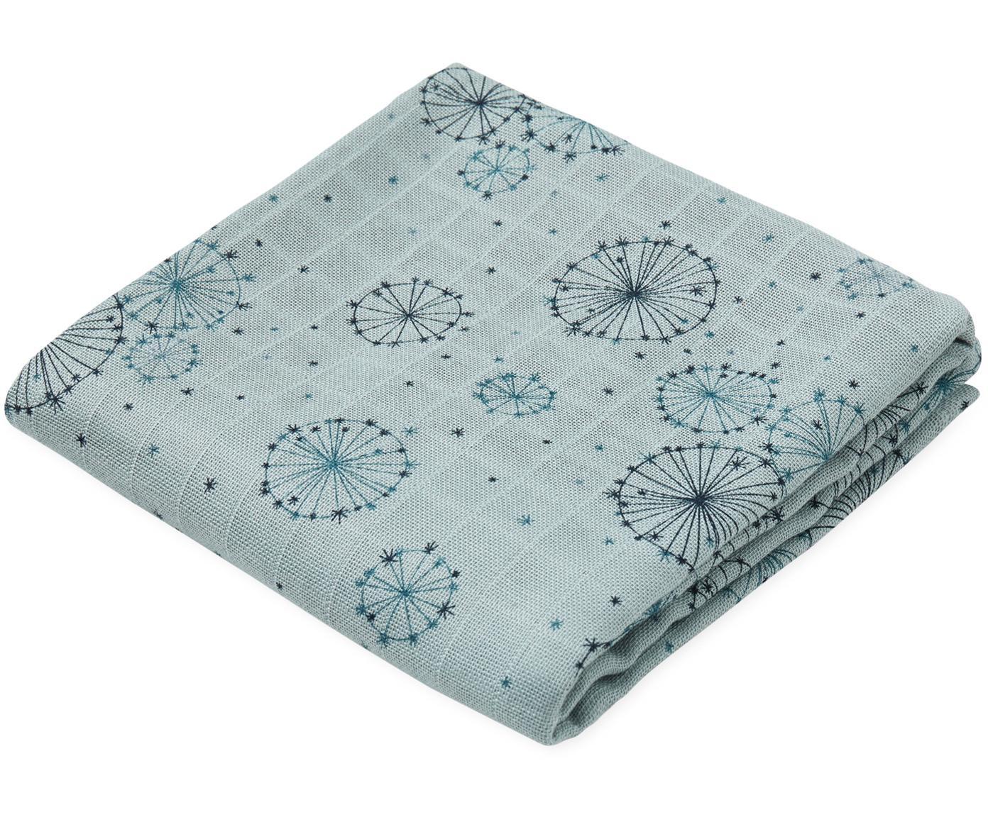 Mulltücher Dandelion aus Bio-Baumwolle, 2 Stück, Bio-Baumwolle, GOTS-zertifiziert, Blautöne, 70 x 70 cm