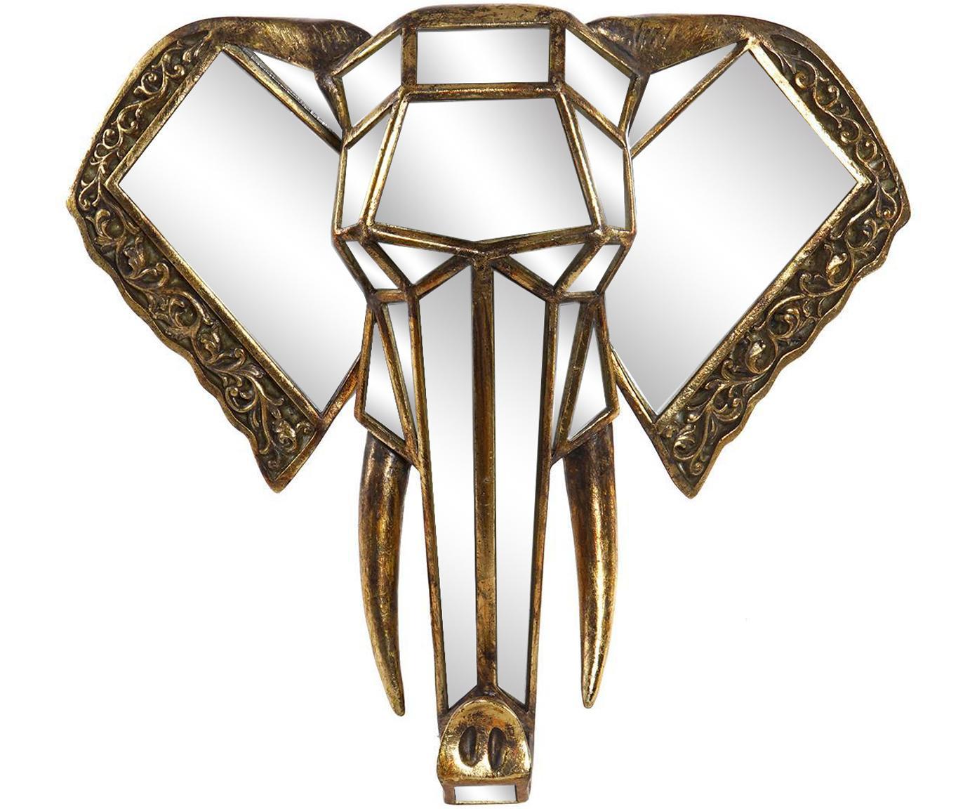 Decoración de pared Elefante, Resina Espejo de cristal, Dorado, espejo, An 41 x Al 38 cm