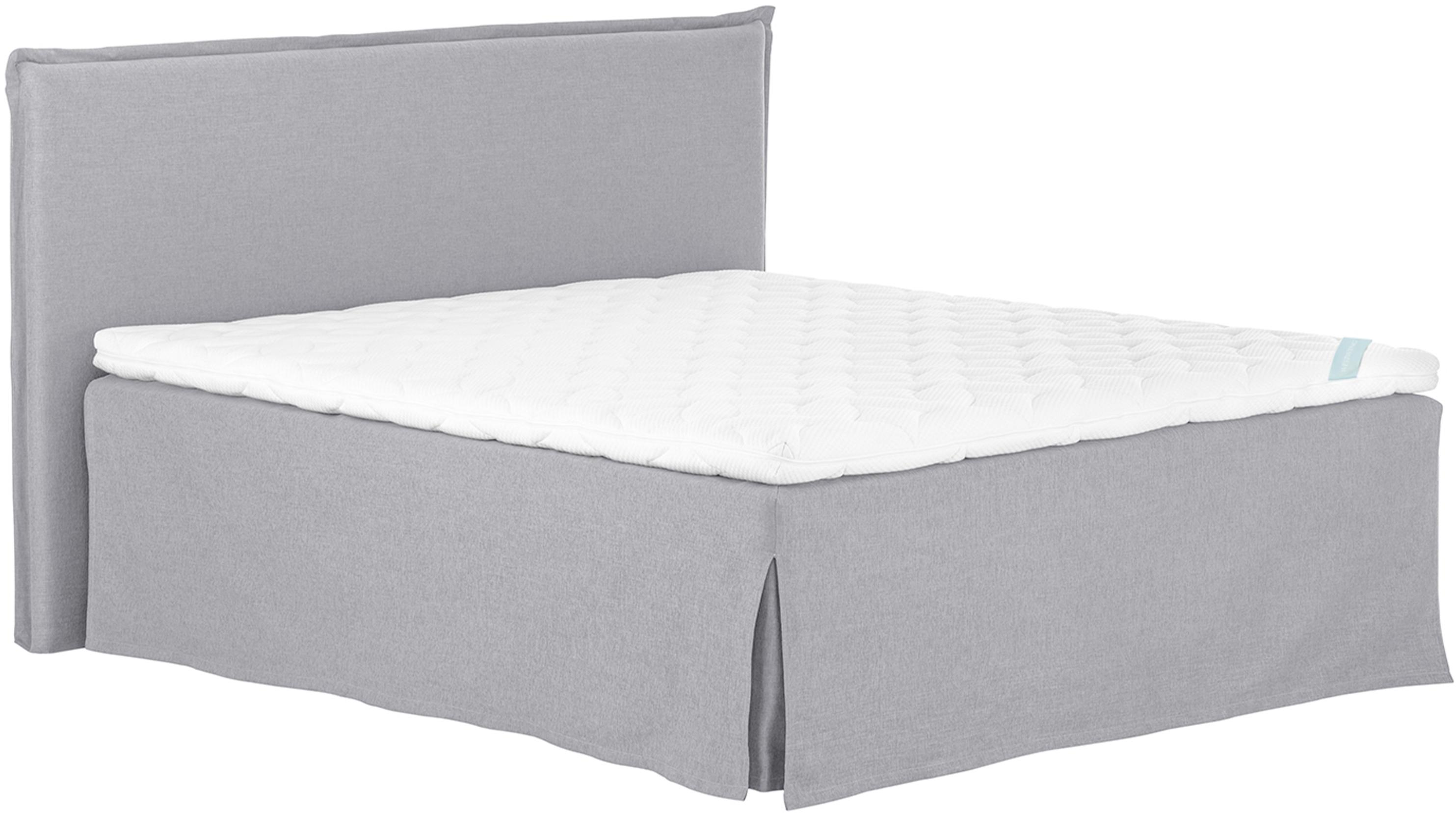 Premium Boxspringbett Violet, Matratze: 7-Zonen-Taschenfederkern , Füße: Massives Buchenholz, lack, Grau, 180 x 200 cm